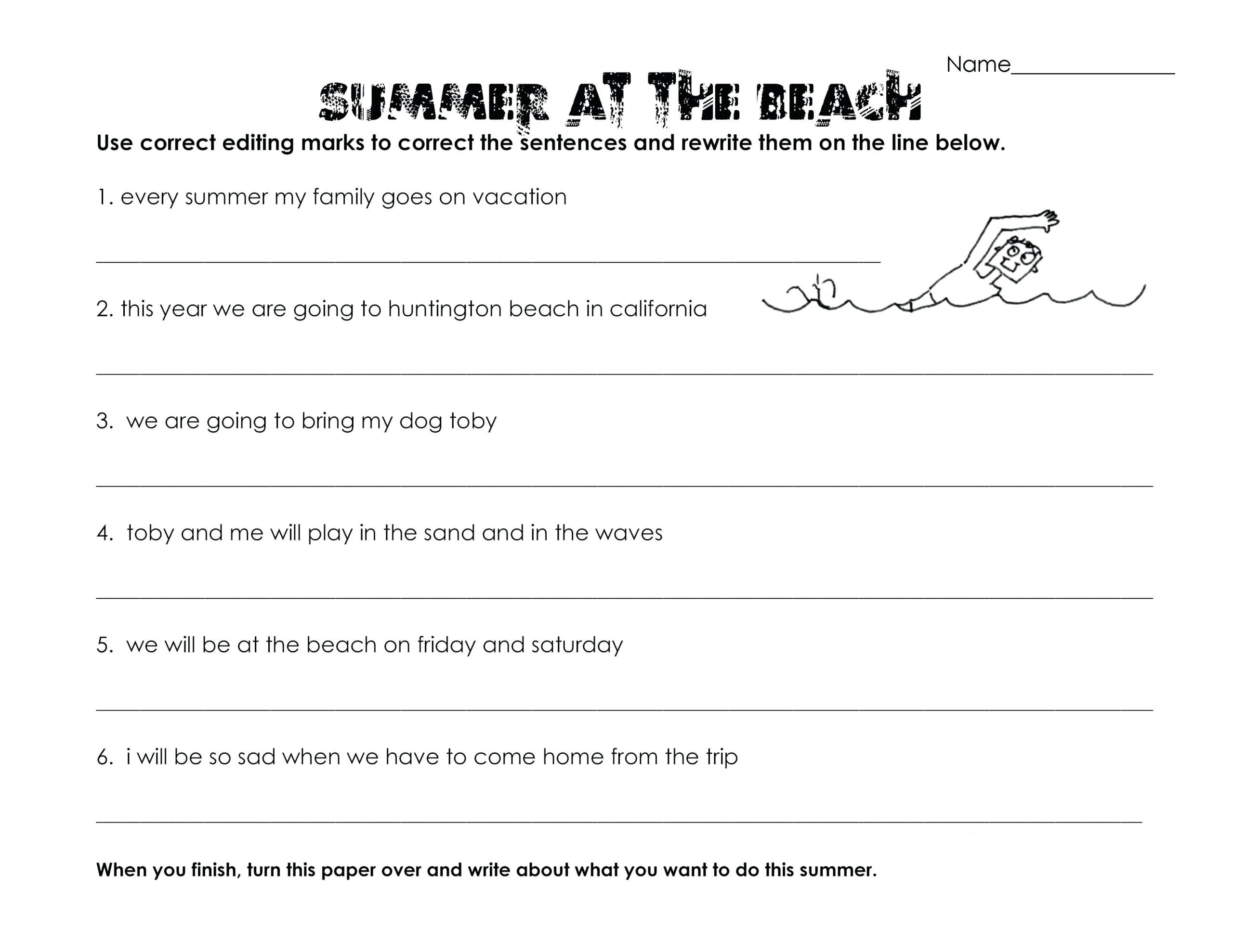 Editing Worksheets 3rd Grade 3rd Grade Worksheets Best Coloring for Kids Summer Fun