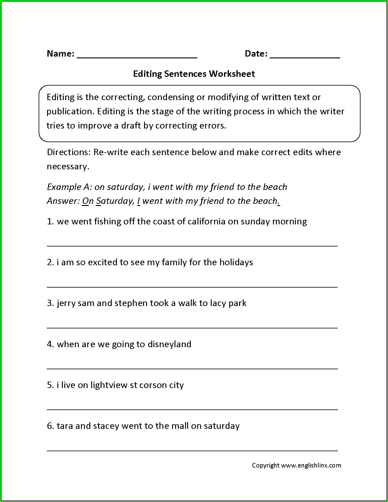 Editing Worksheets 4th Grade Editing Worksheet Sentece
