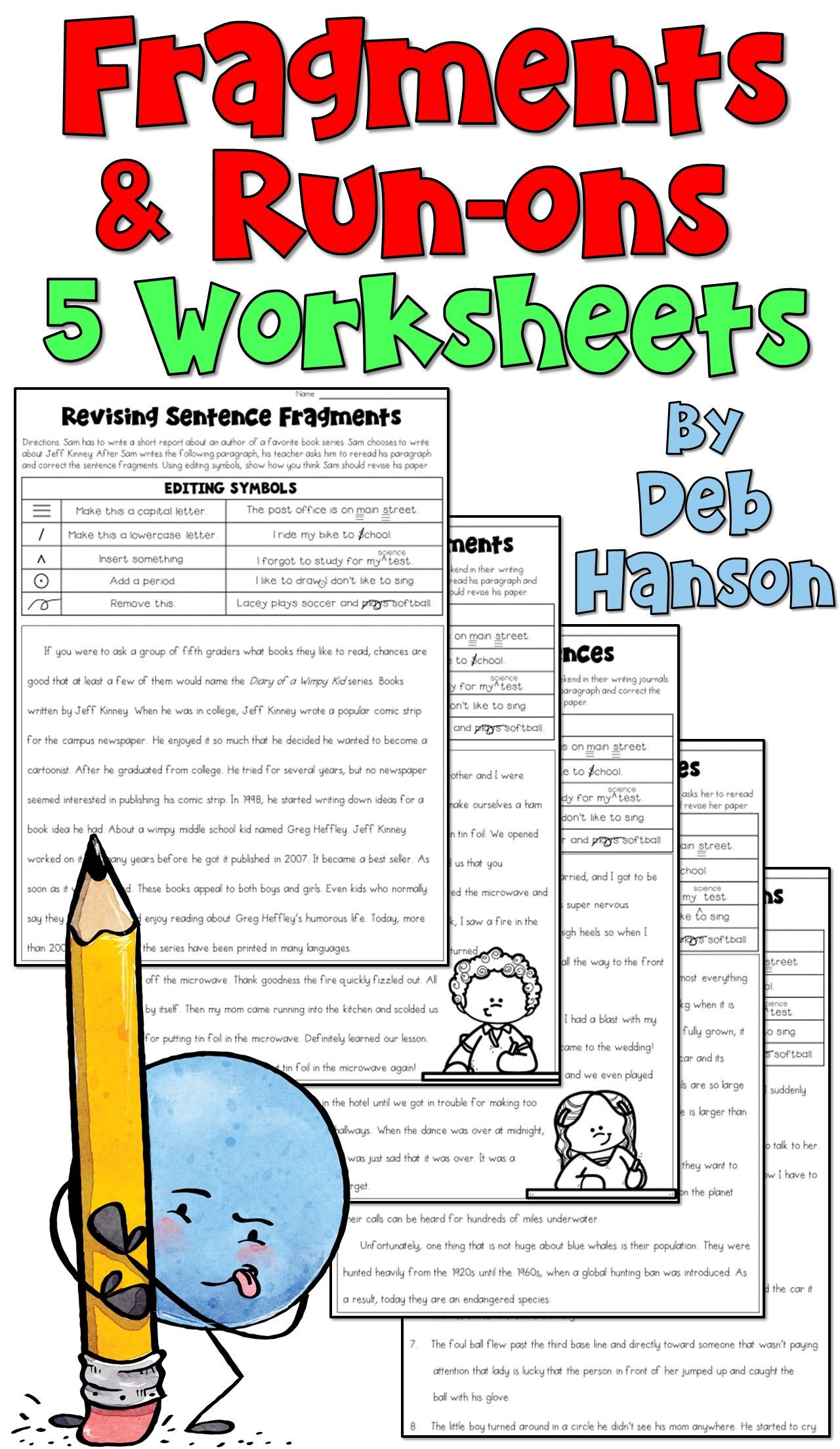 Editing Worksheets 4th Grade Practice Revising Fragments and Run Ons with these Five