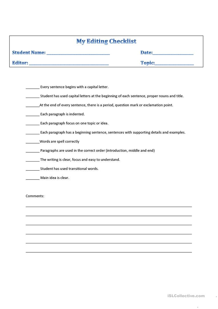 Editing Worksheets for High School Editing Checklist English Esl Worksheets for Distance