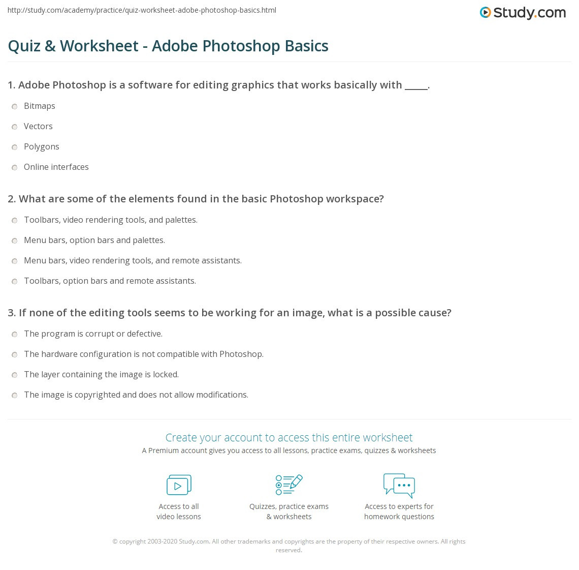 Editing Worksheets for High School Quiz & Worksheet Adobe Shop Basics