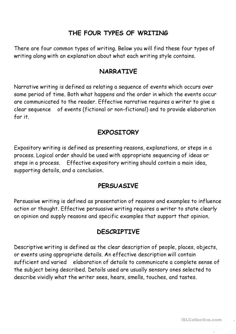 Elaboration In Writing Worksheets Four Types Of Writing English Esl Worksheets for Distance