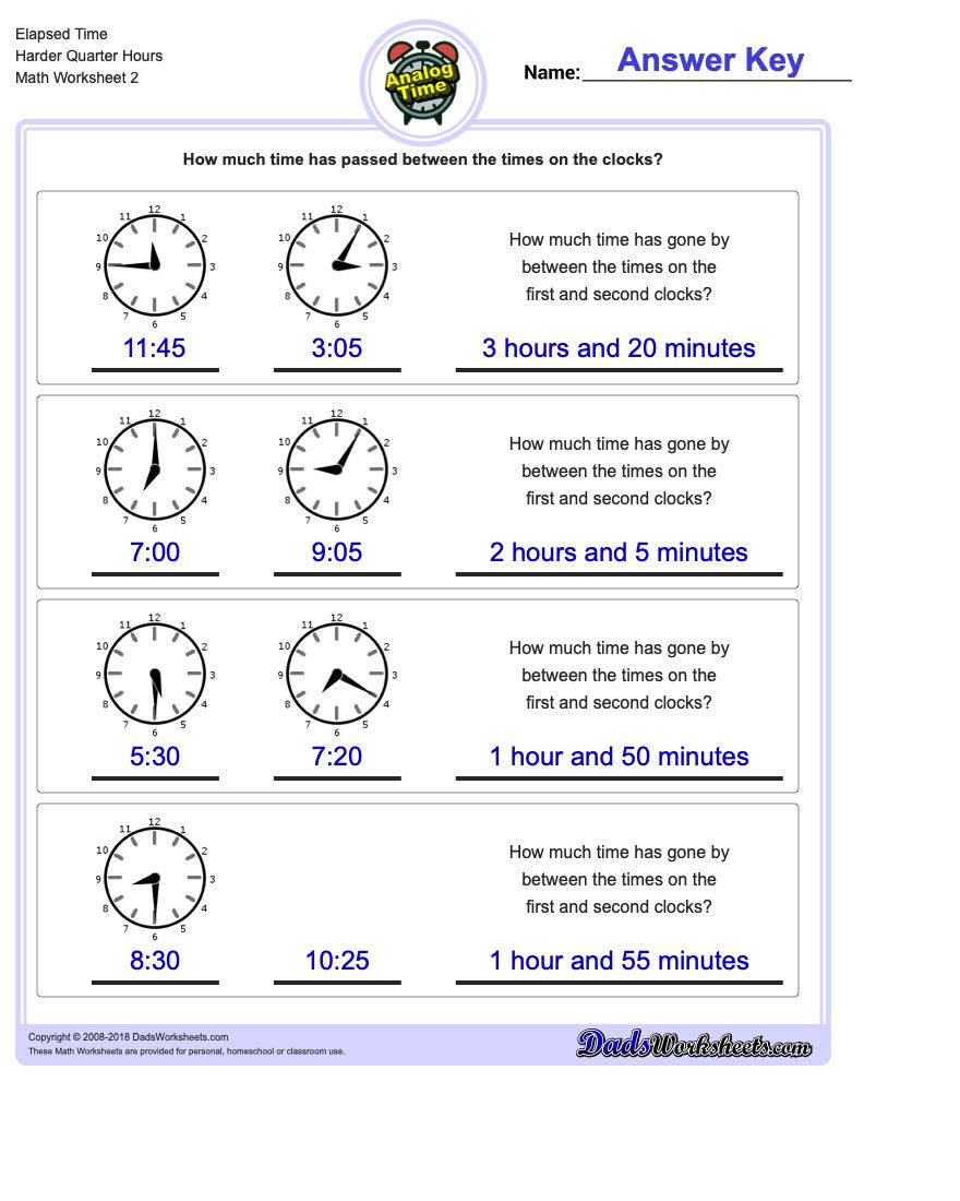 Elapsed Time Worksheets 3rd Grade Start From Quarter Hours