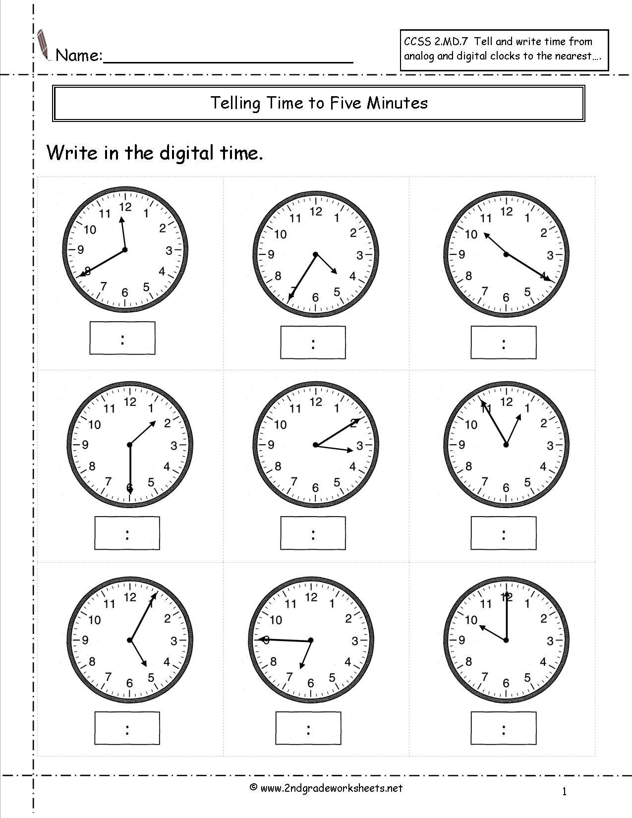 Elapsed Time Worksheets 3rd Grade Telling Time to Nearest Five Minutes Worksheet