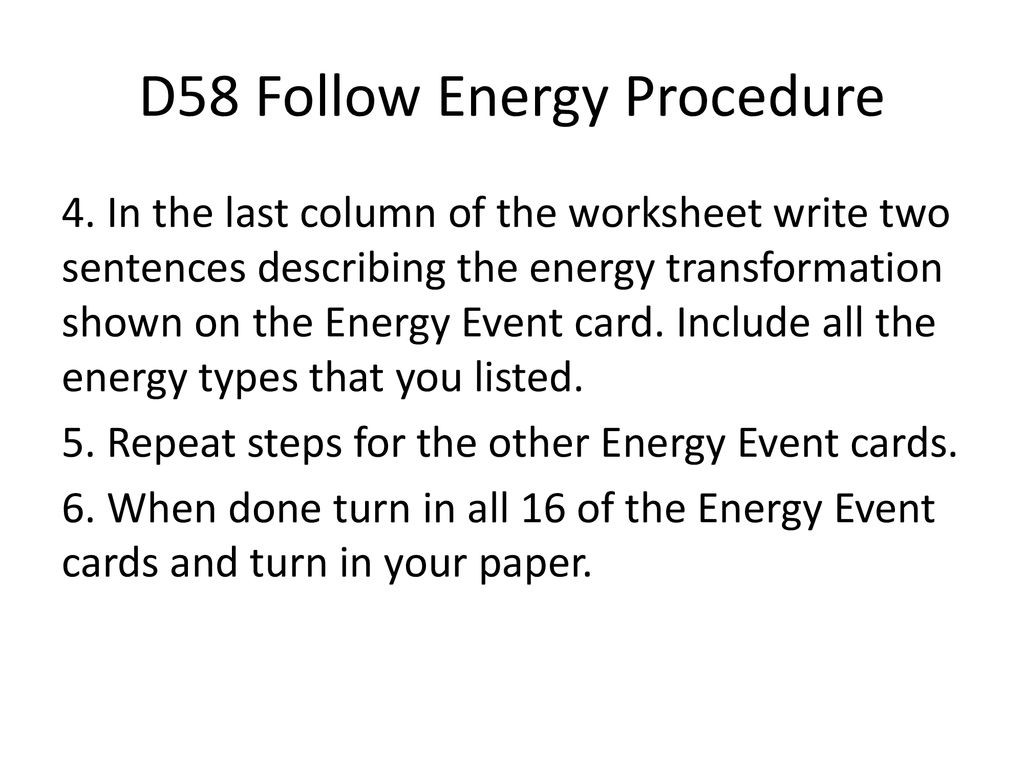 Energy Transformation Worksheets Middle School D58 Follow the Energy Ppt