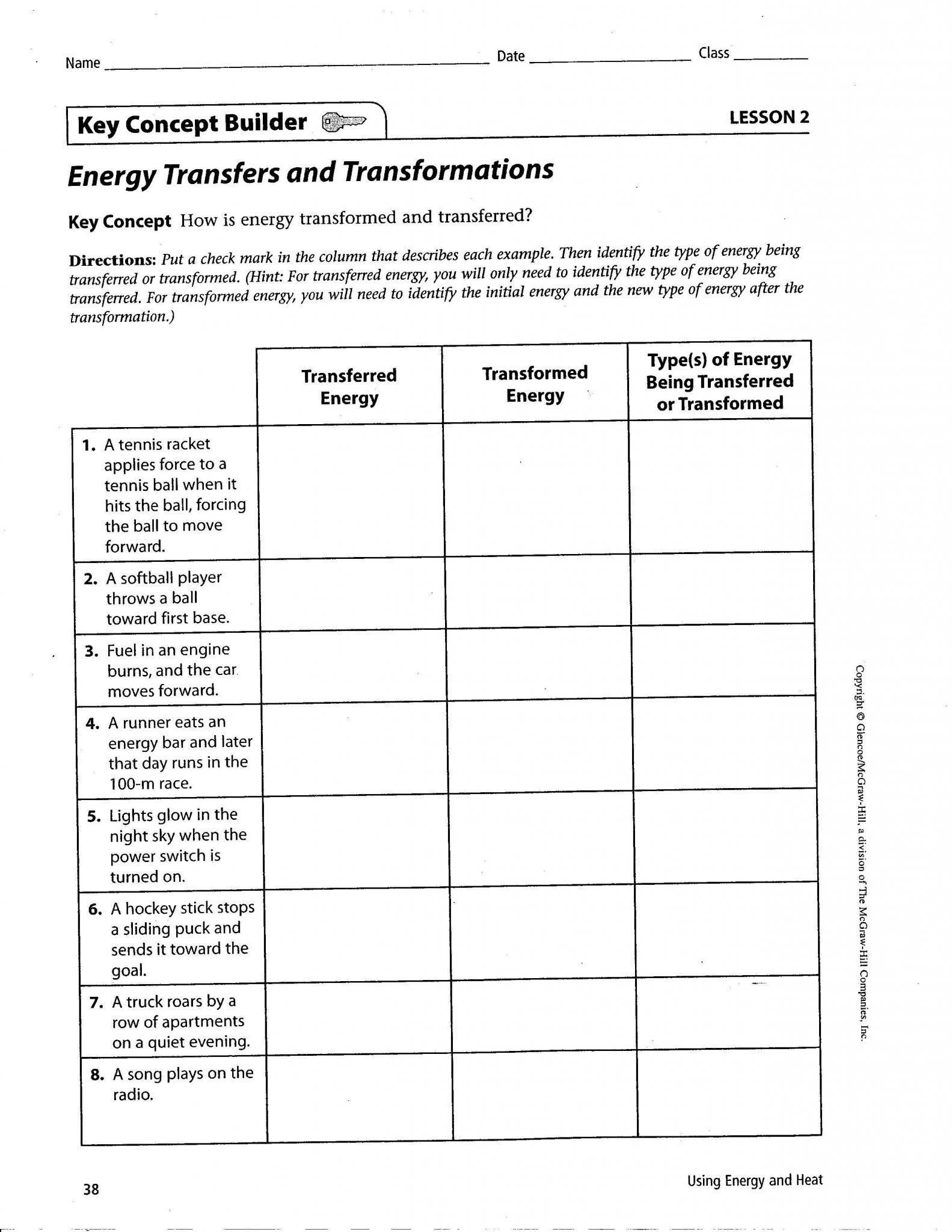Energy Transformation Worksheets Middle School Energy Transformation Worksheet Middle School In 2020