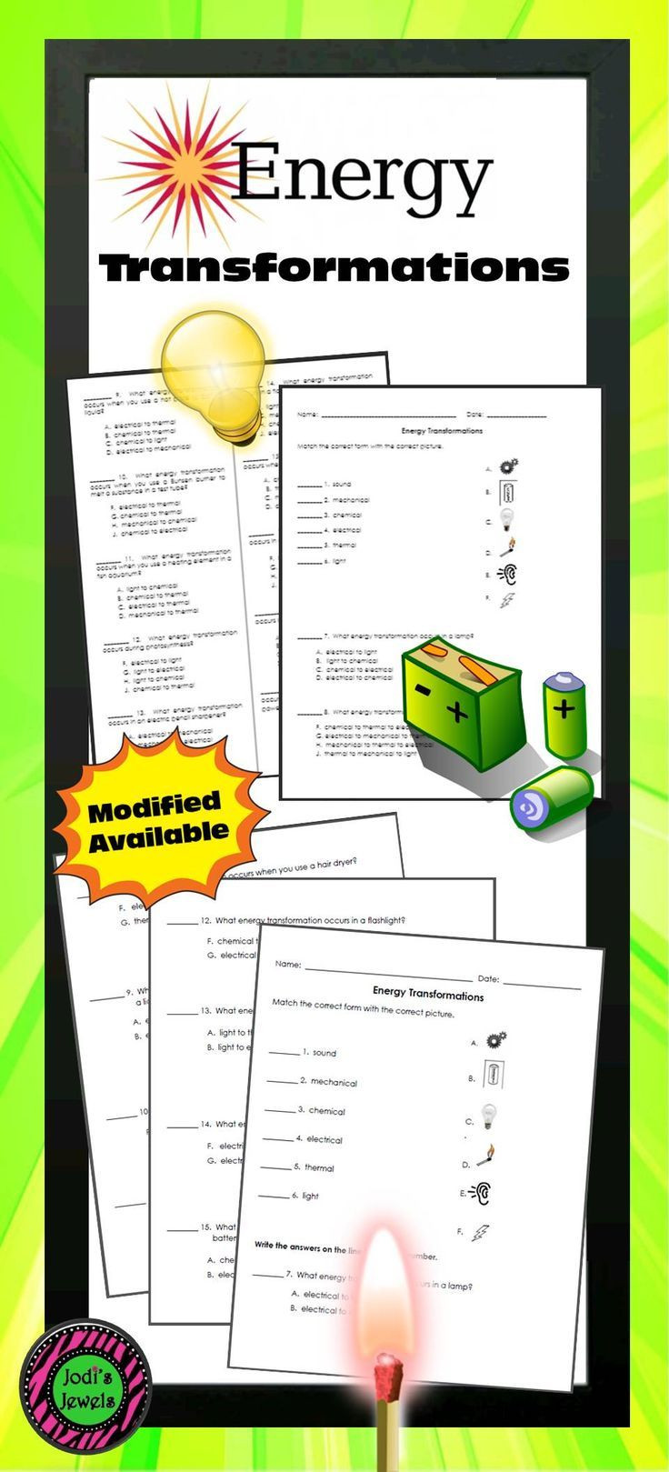 Energy Transformation Worksheets Middle School Students Will Practice Types Of Energy Transformations