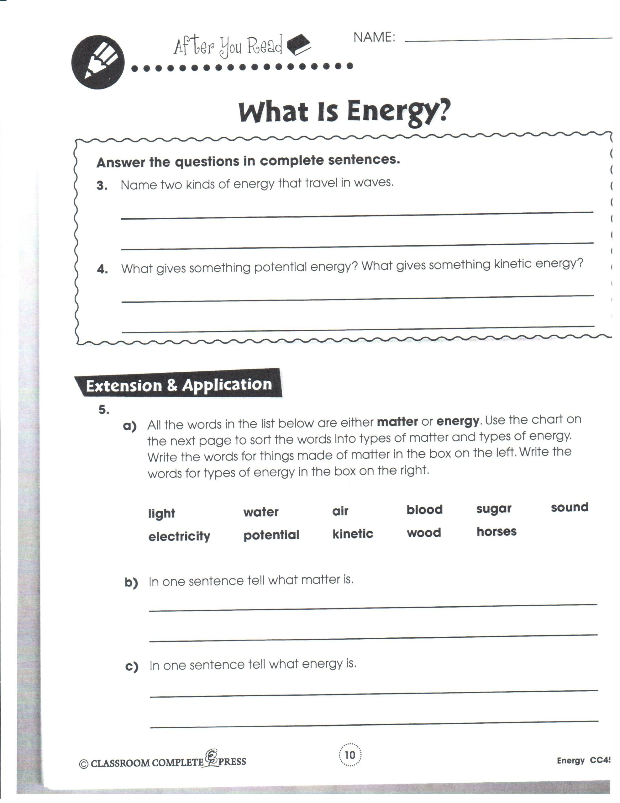 Energy Worksheets for 3rd Grade Physical Science January Mrs Garchow Classroom 8th