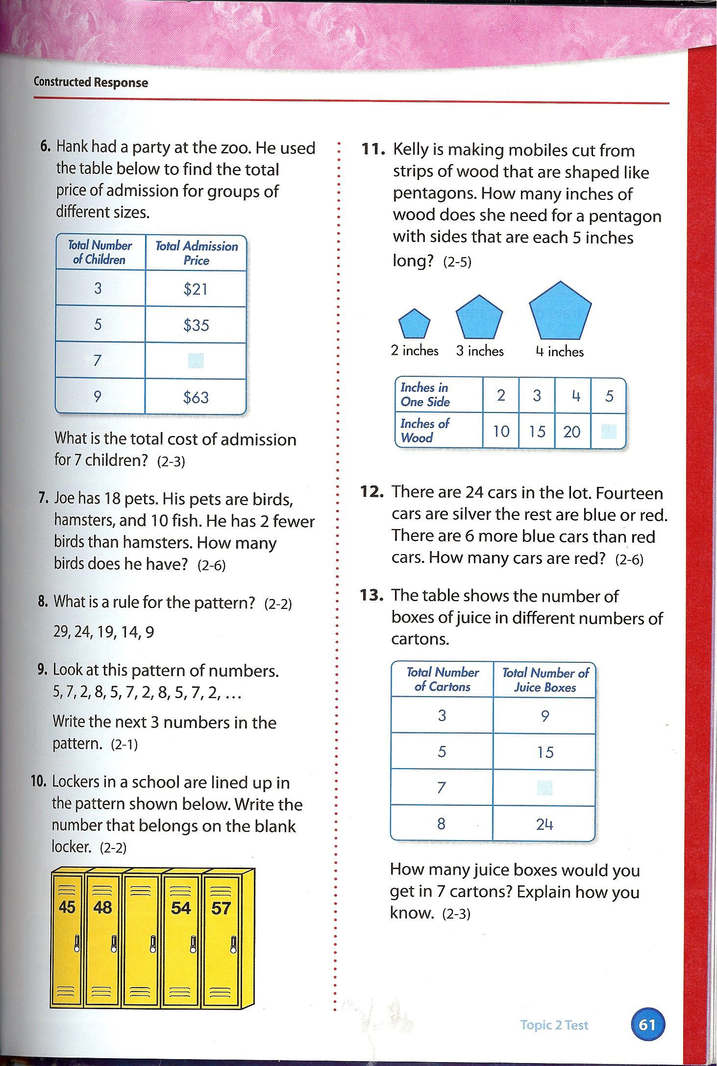 Envision Math 1st Grade Worksheets Envision Math Grade 4 topic 2 Test Page 2