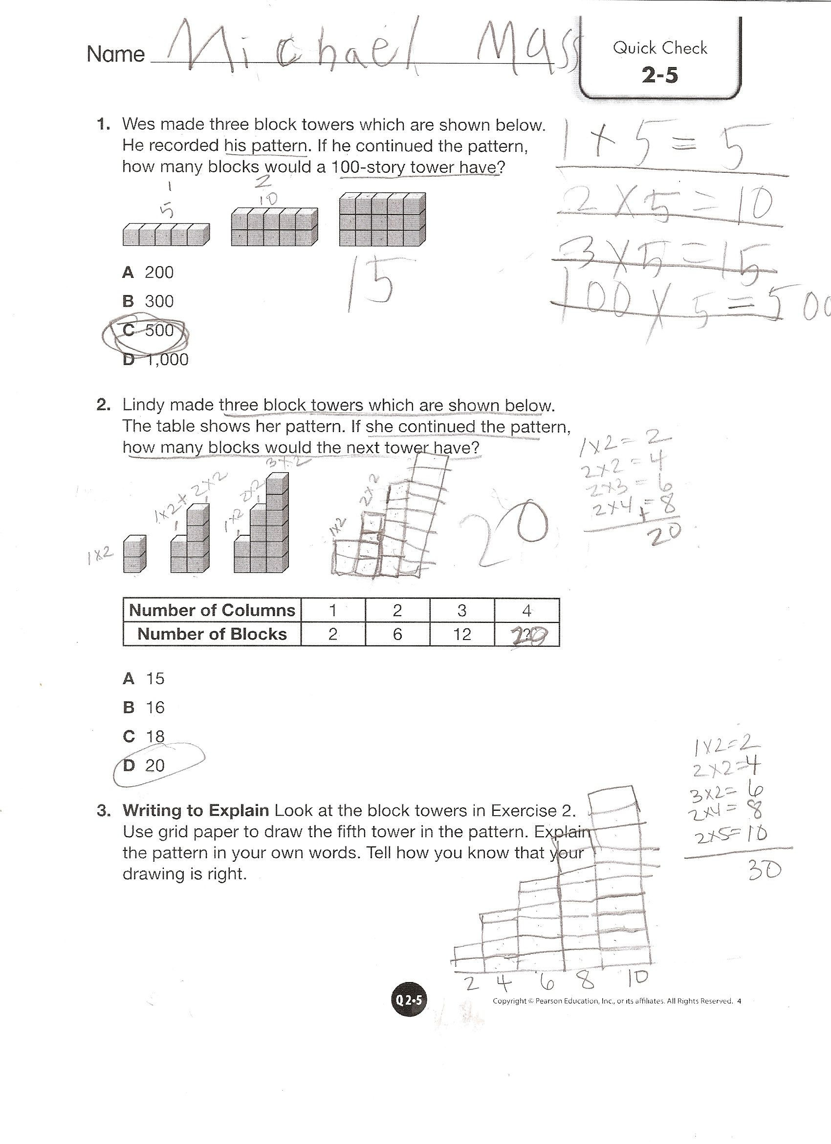 Envision Math 1st Grade Worksheets Envision Math Grade topic Quick Check Worksheets Cm Squared