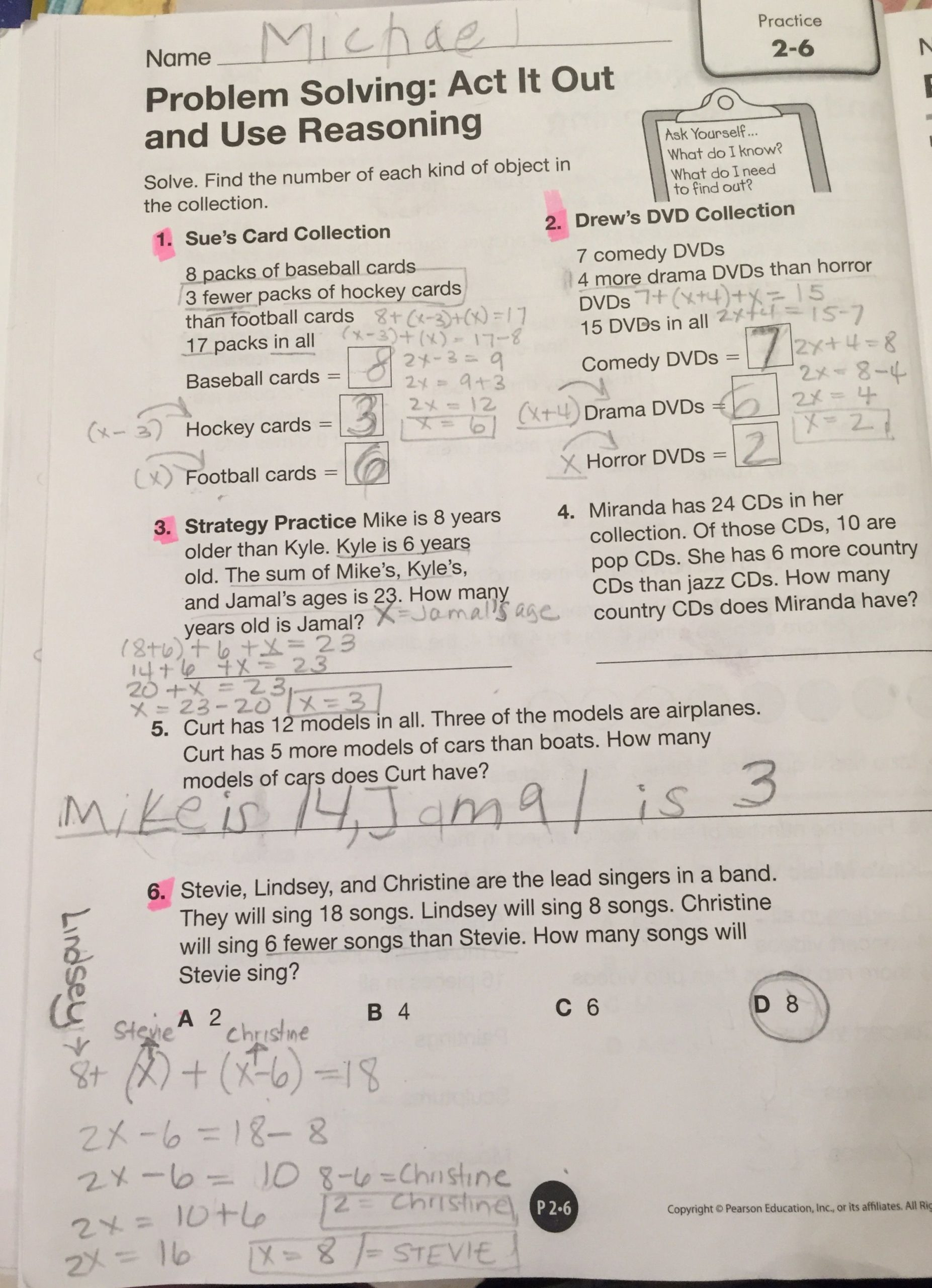 Envision Math 4th Grade Worksheets Envision Math Grade 4 topic 2 6 Problem solving Act It Out