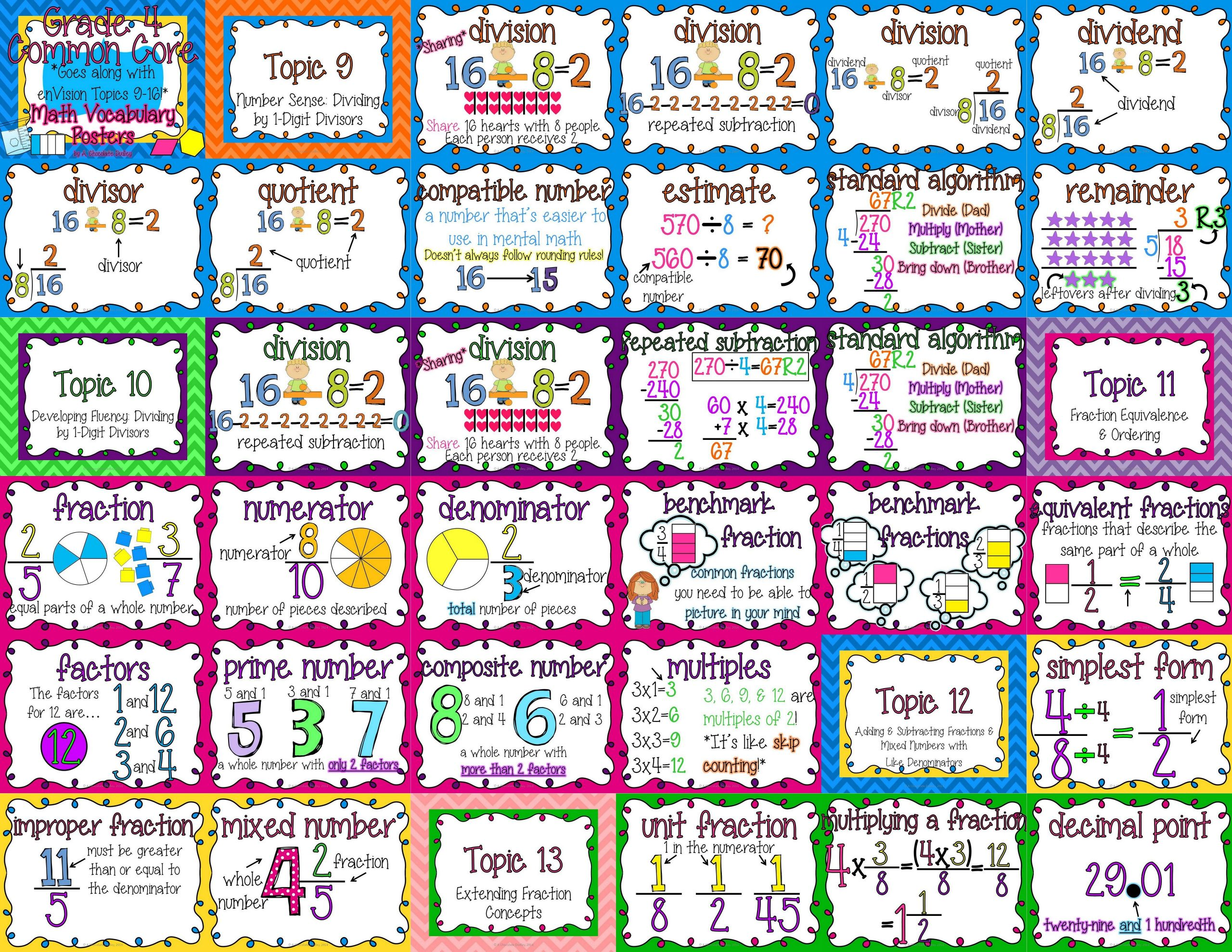 Envision Math 4th Grade Worksheets Grade 4 Mon Core Math Vocabulary Posters topics 9 16
