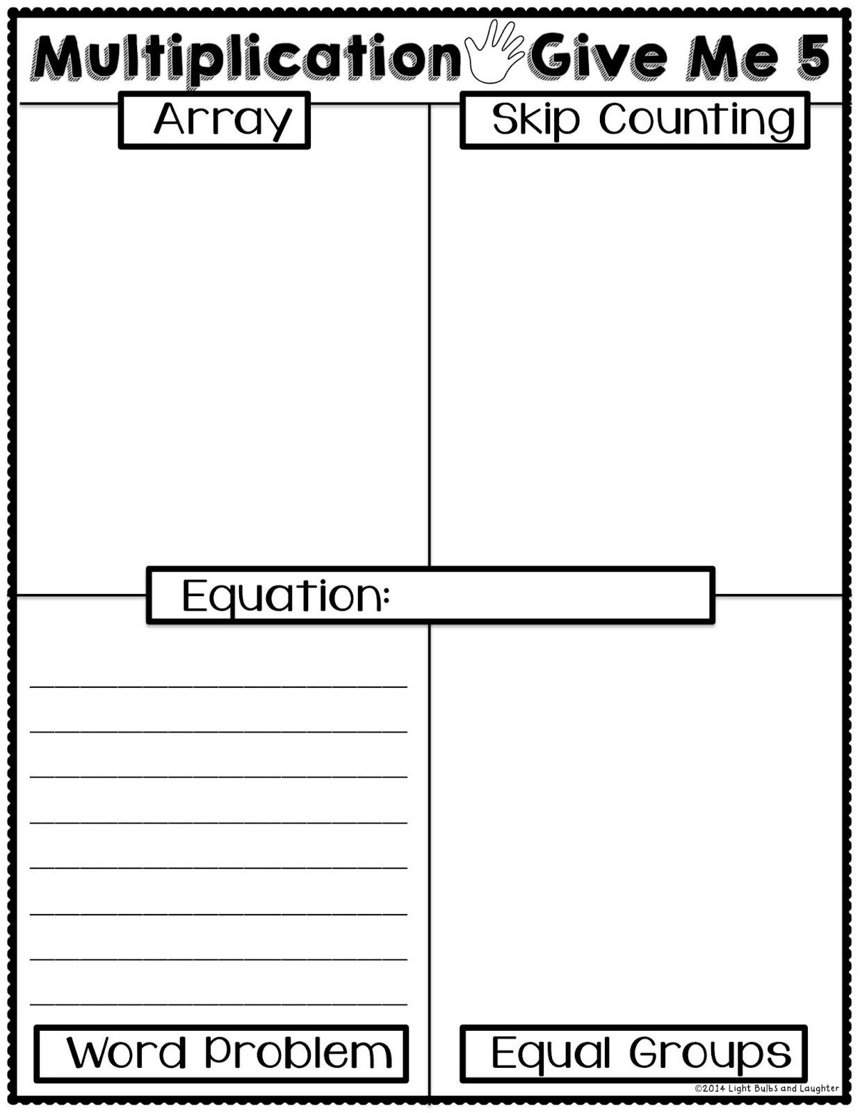 Equal Groups Worksheets 3rd Grade Light Bulbs and Laughter Multiplication Give Me 5