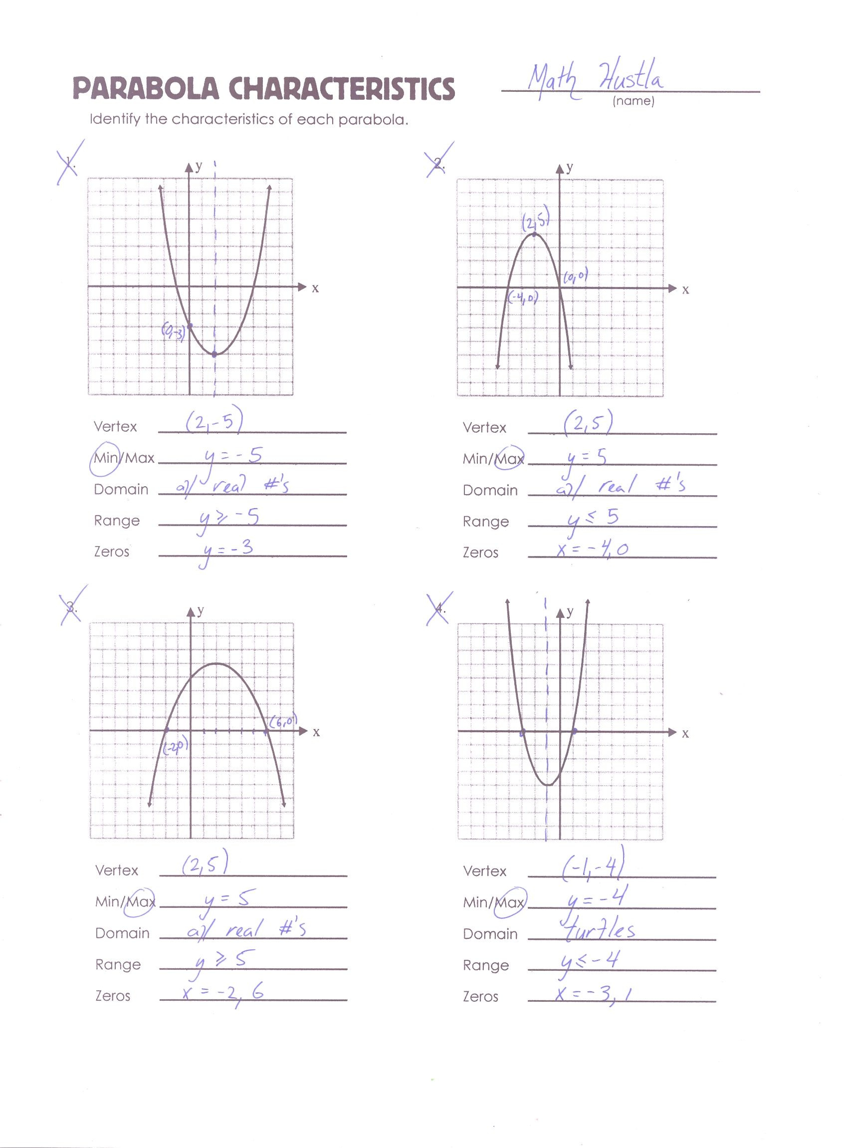 Error Analysis Math Worksheet Parabola Review Worksheet