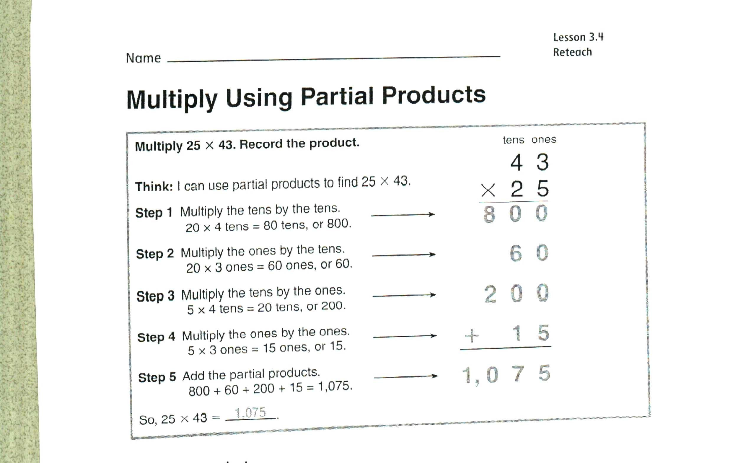 Estimate Products Worksheets