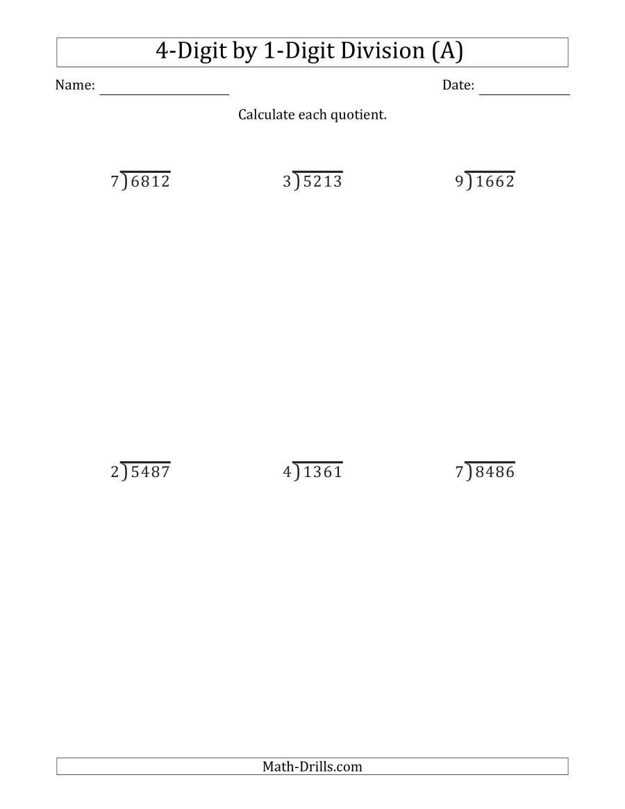 Estimating Quotients Worksheets 5th Grade Digit by Division with Remainders and Steps Shown Worksheets