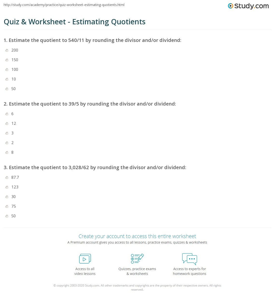Estimating Quotients Worksheets 5th Grade Quiz & Worksheet Estimating Quotients