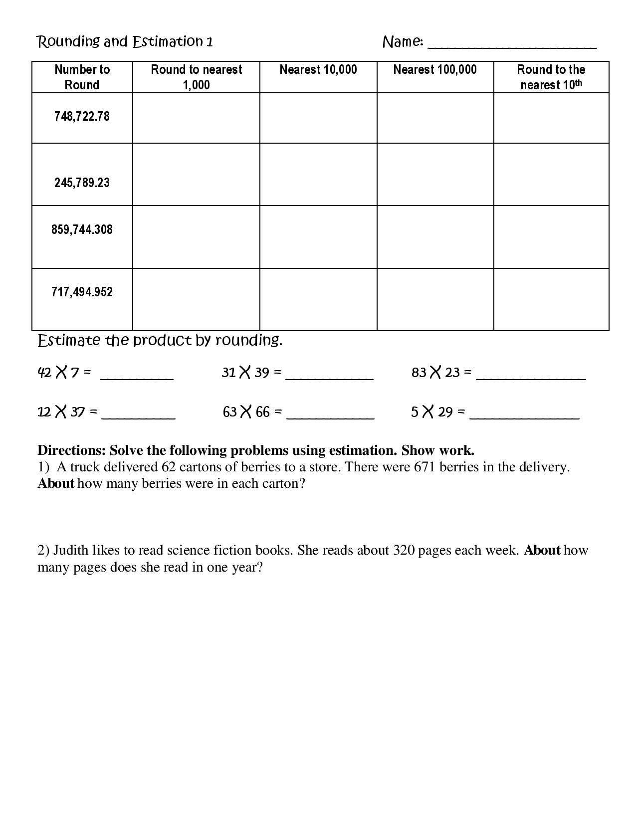 Estimating Quotients Worksheets 5th Grade these Five Worksheets On Rounding and Estimation Involve