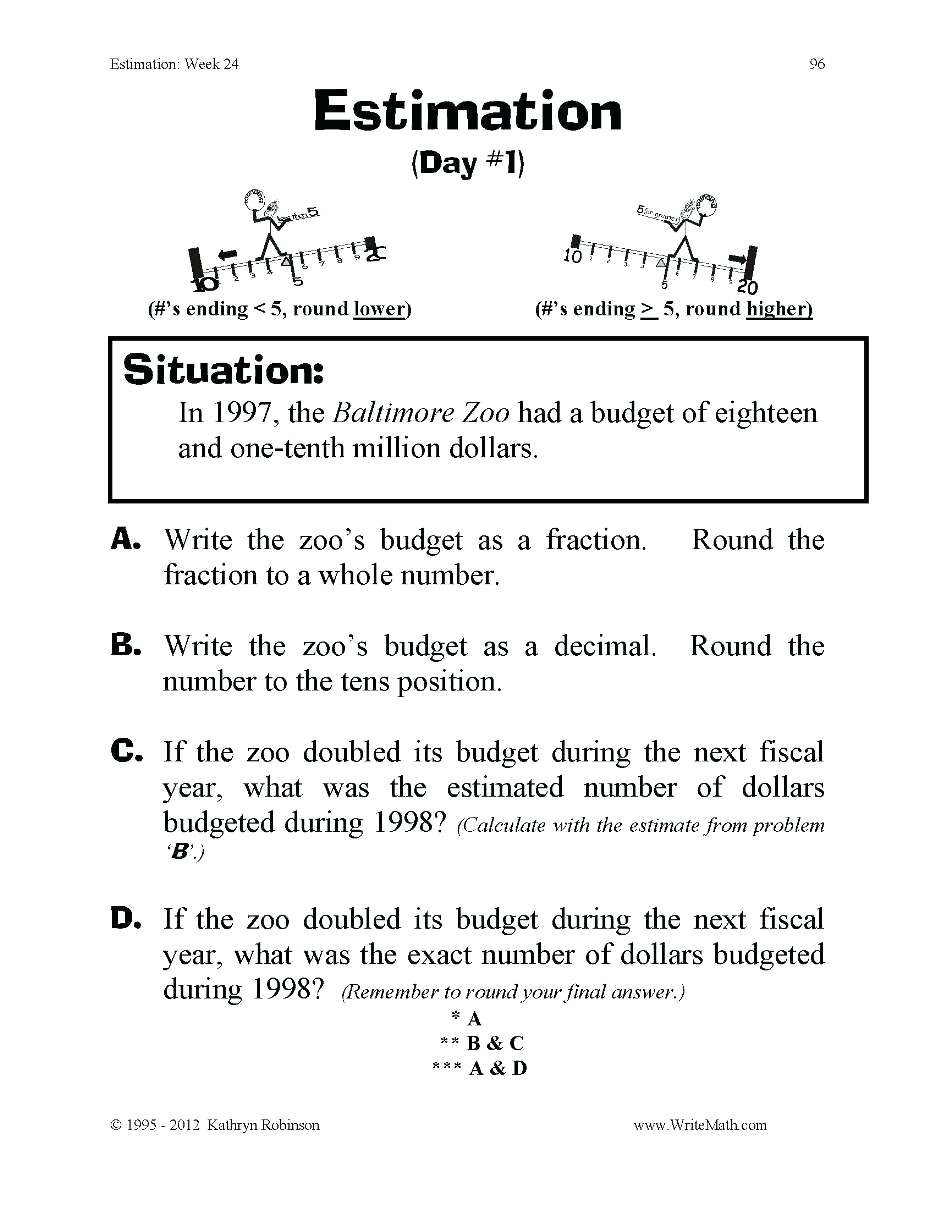 Estimating Worksheets 3rd Grade Rounding Worksheets 4th Grade Rounding whole Numbers