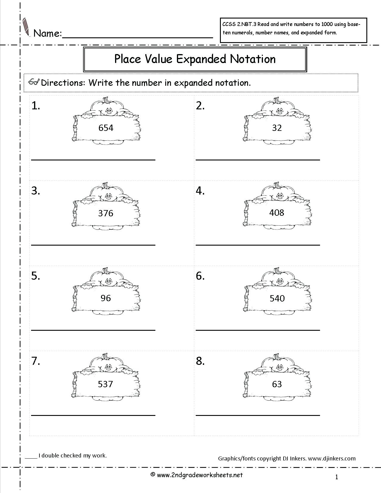 Expanded form Worksheets 1st Grade Expanded form Worksheets with Answers