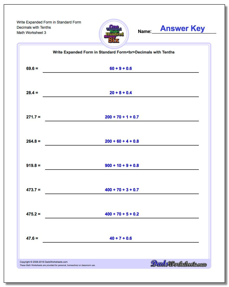 Expanded form Worksheets 5th Grade Write Numbers In Expanded form