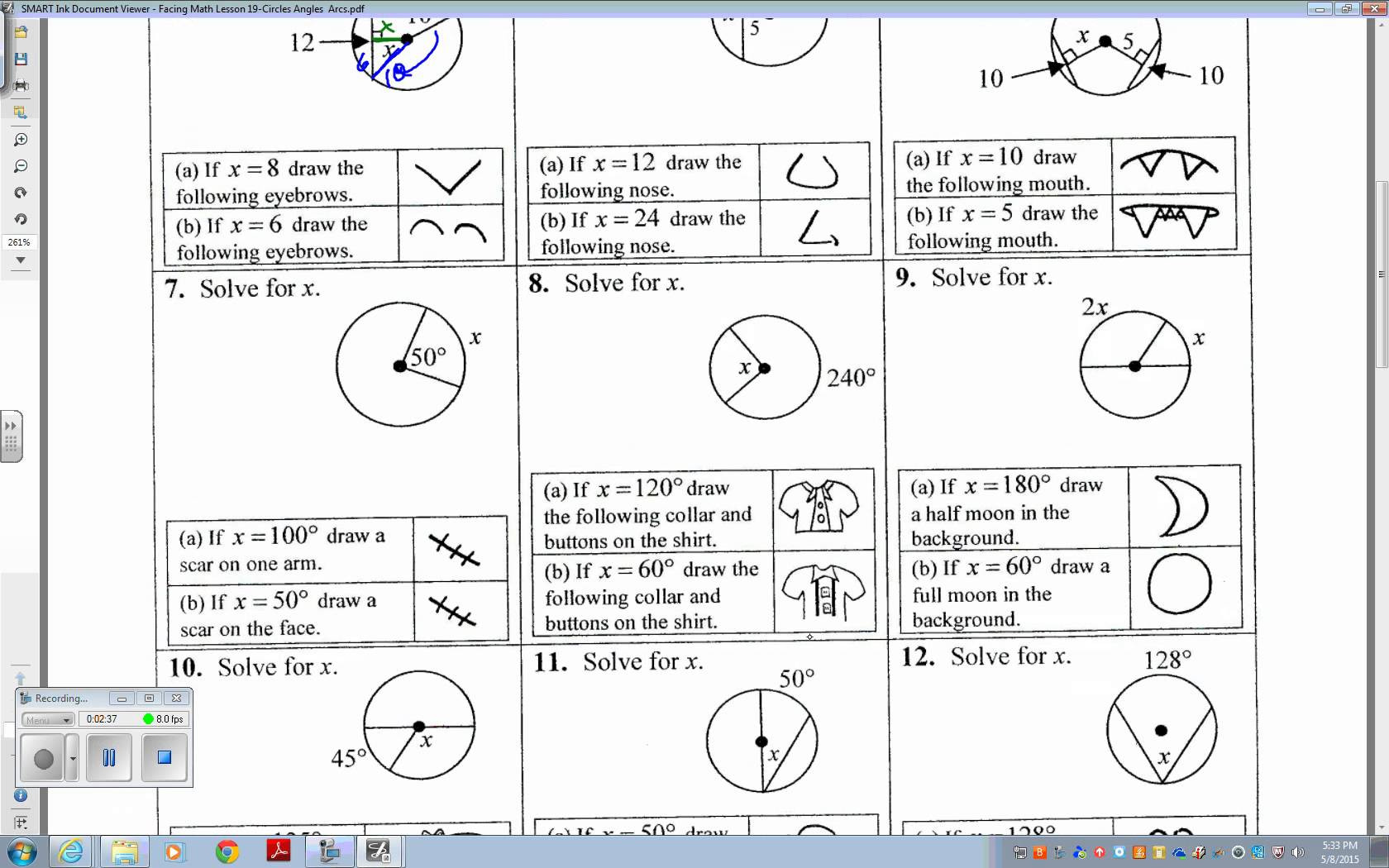 Faceing Math Printable Worksheets Faceing Math Lesson 16 Equations Circles Answer Key