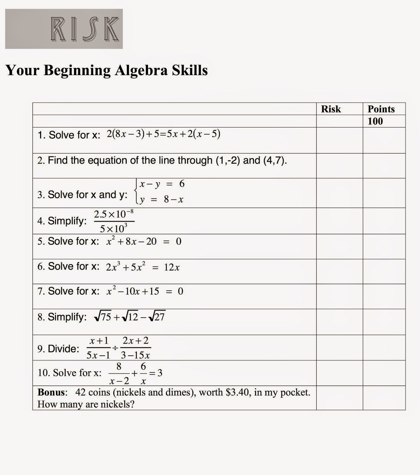 Faceing Math Printable Worksheets Math Mama Writes Math Game Risk Your Beginning Algebra