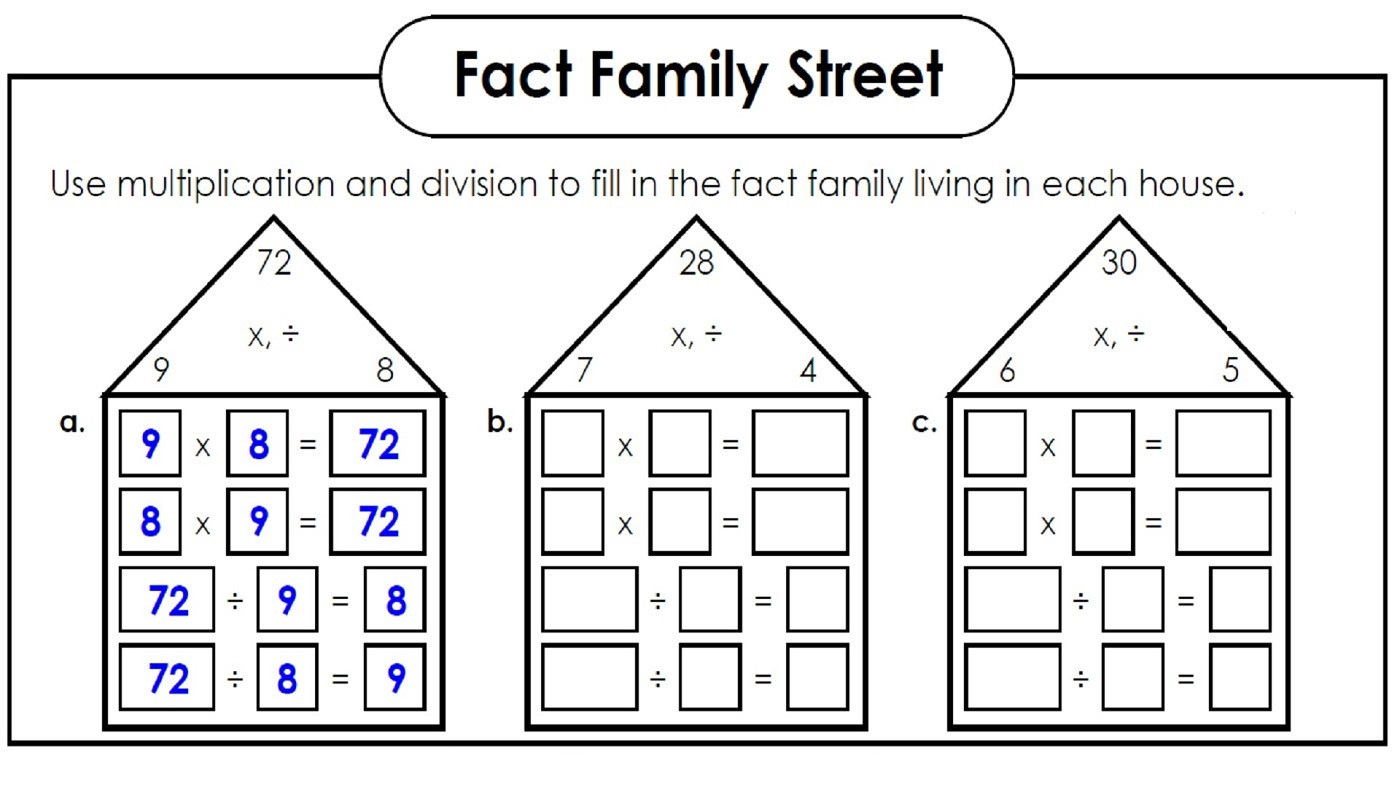 Fact Family Worksheets First Grade Fact Families Worksheets Printable