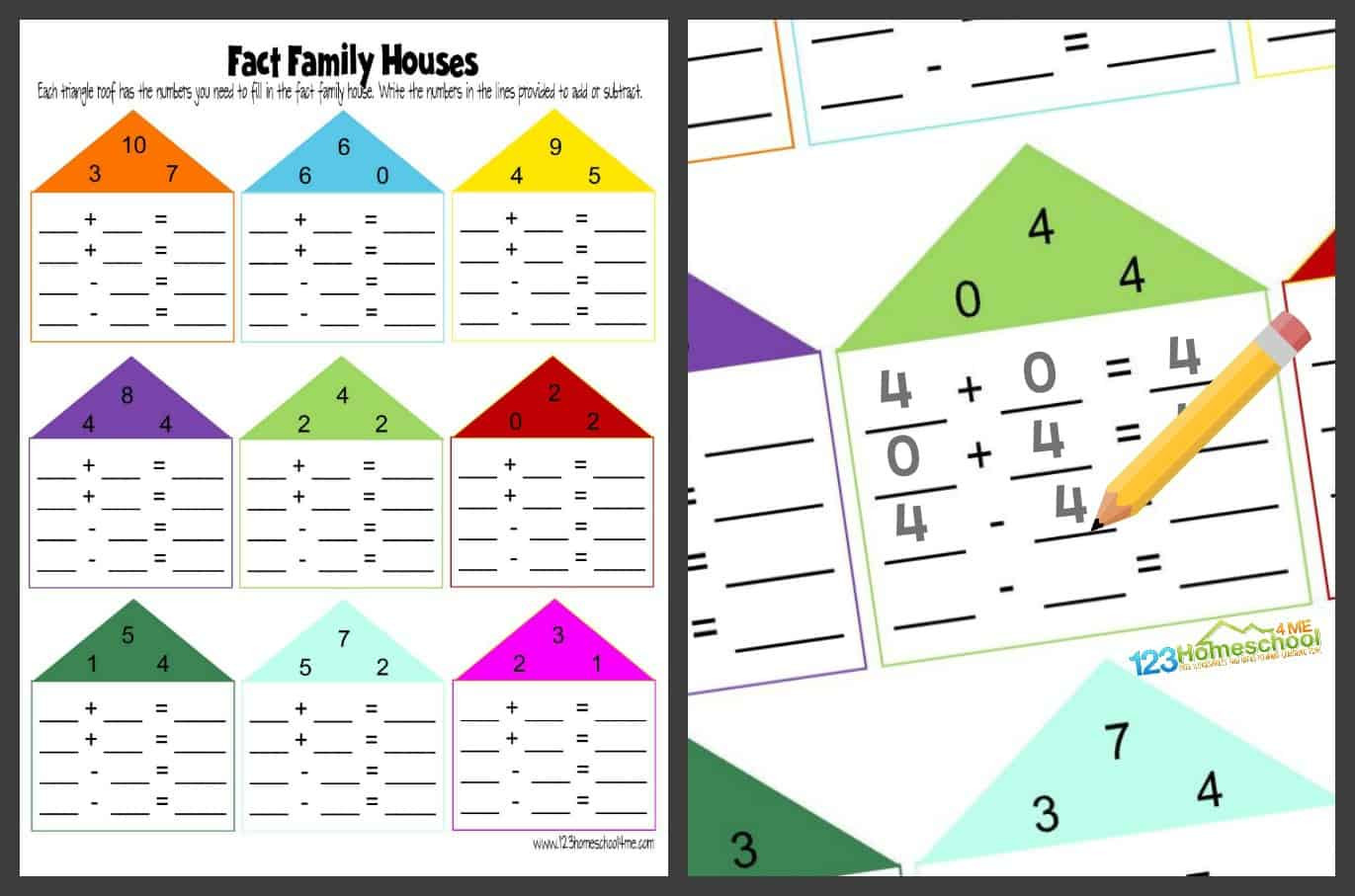 Fact Family Worksheets First Grade Free Fact Family Worksheets