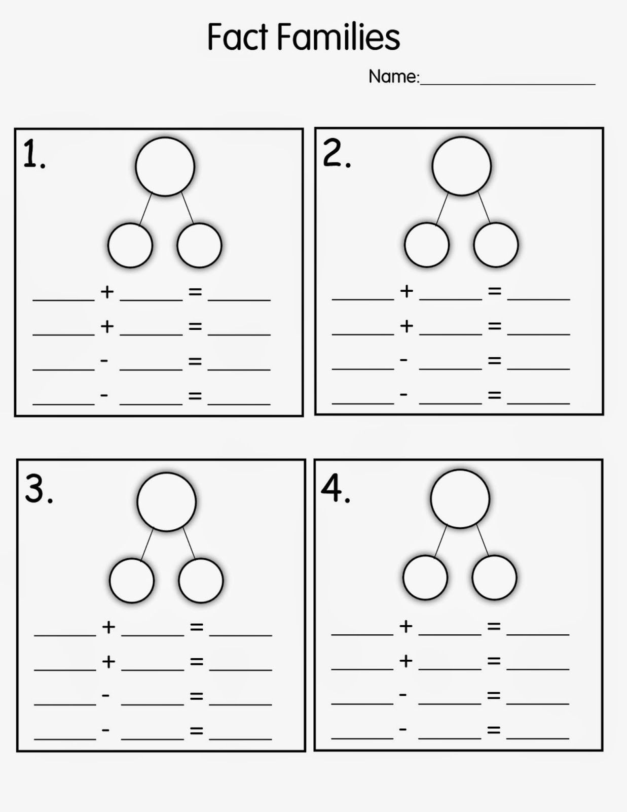 Fact Family Worksheets First Grade Number Family Worksheets for Kids