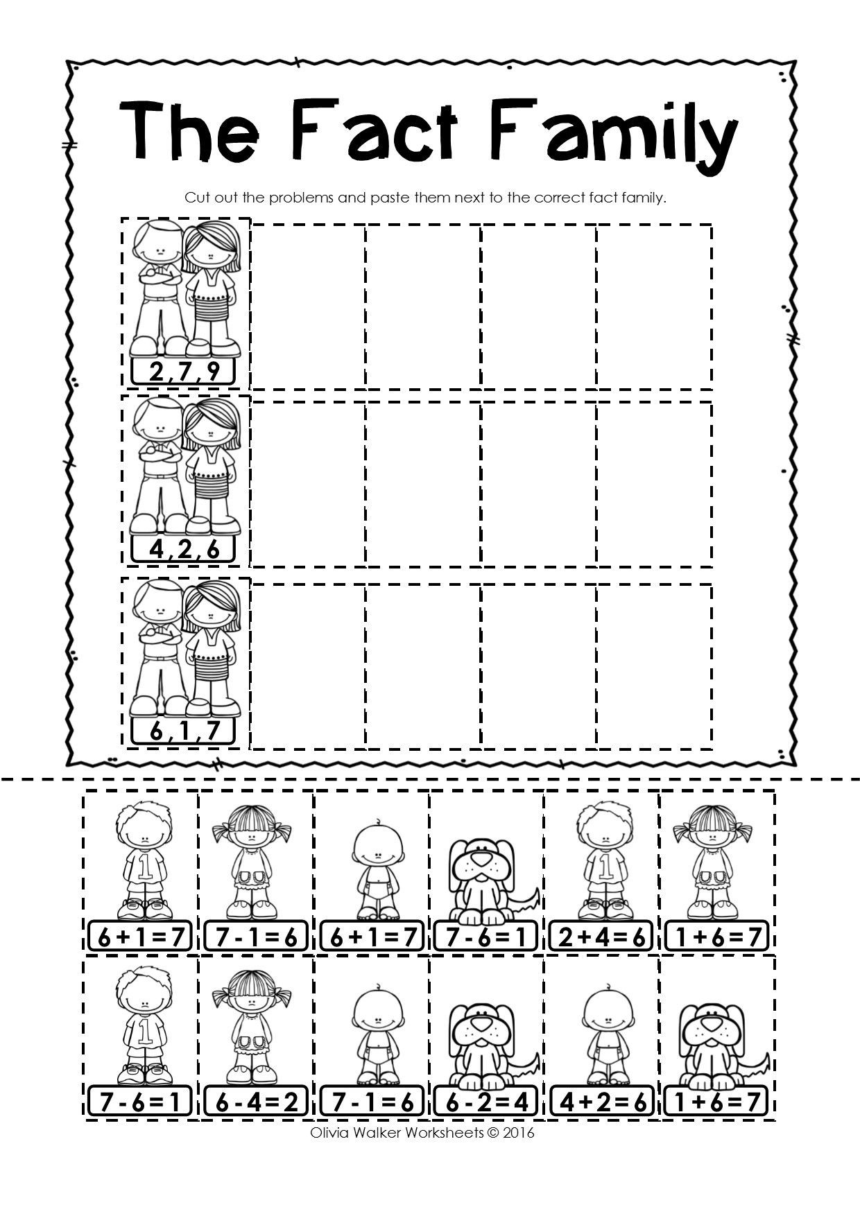 Fact Family Worksheets First Grade Pin On First Grade Math