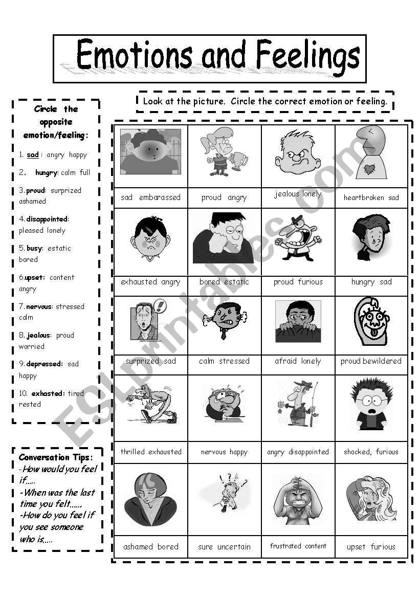 Feelings and Emotions Worksheets Printable Emotions and Feelings Black Copymaster Esl Worksheet by