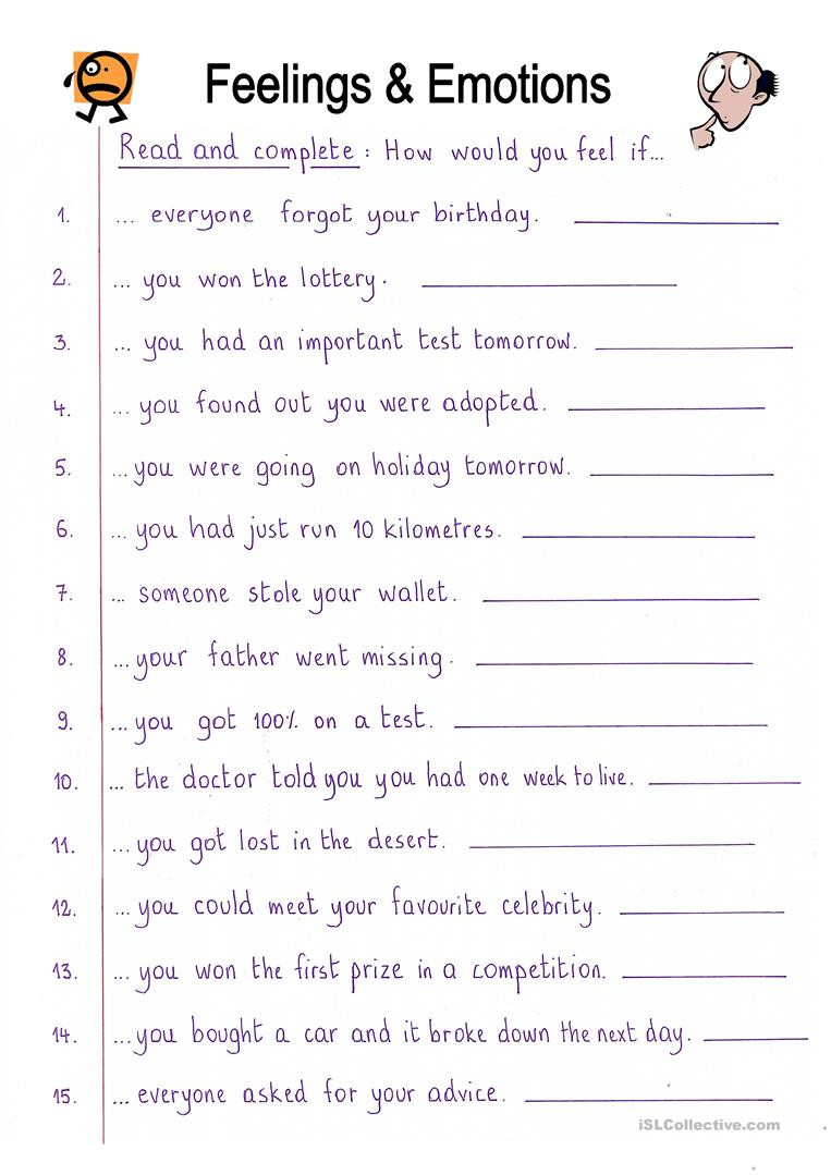 Feelings and Emotions Worksheets Printable English Esl Feelings Emotions Worksheets Most Ed