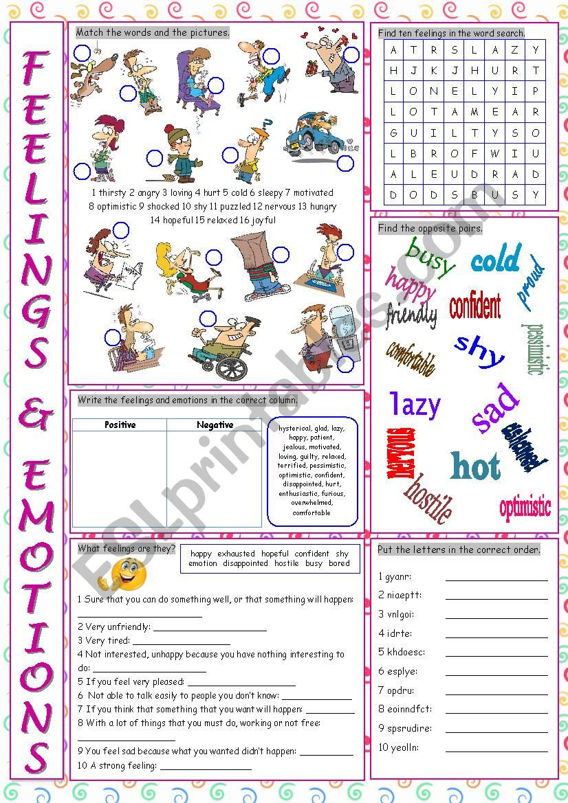 Feelings and Emotions Worksheets Printable Feelings & Emotions Vocabulary Exercises Esl Worksheet by