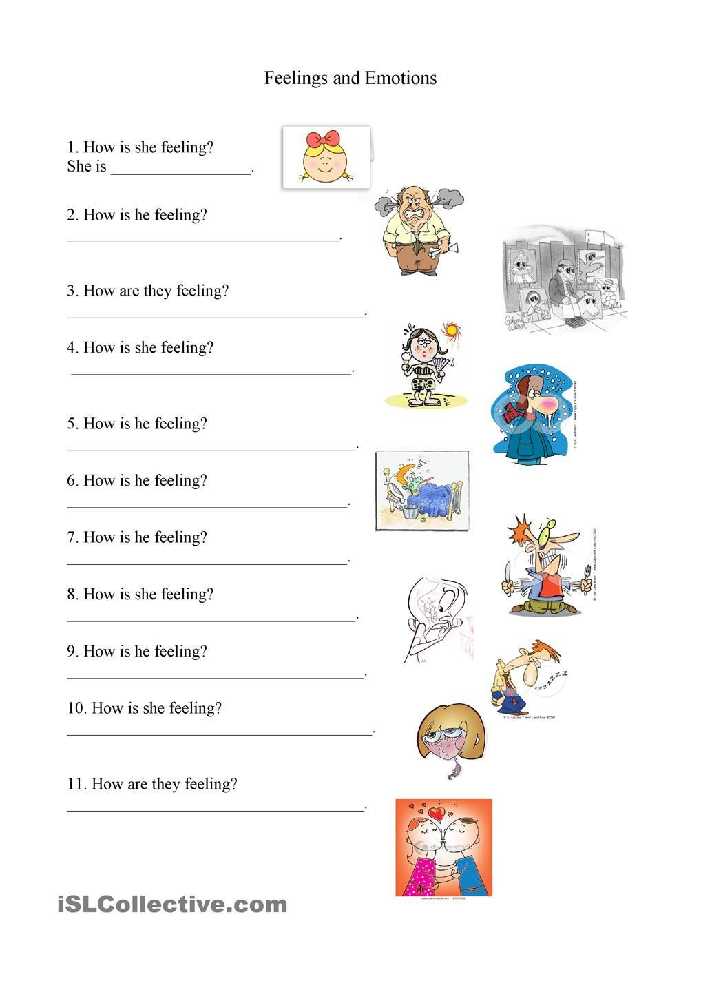 Feelings and Emotions Worksheets Printable Feelings and Emotions Worksheet