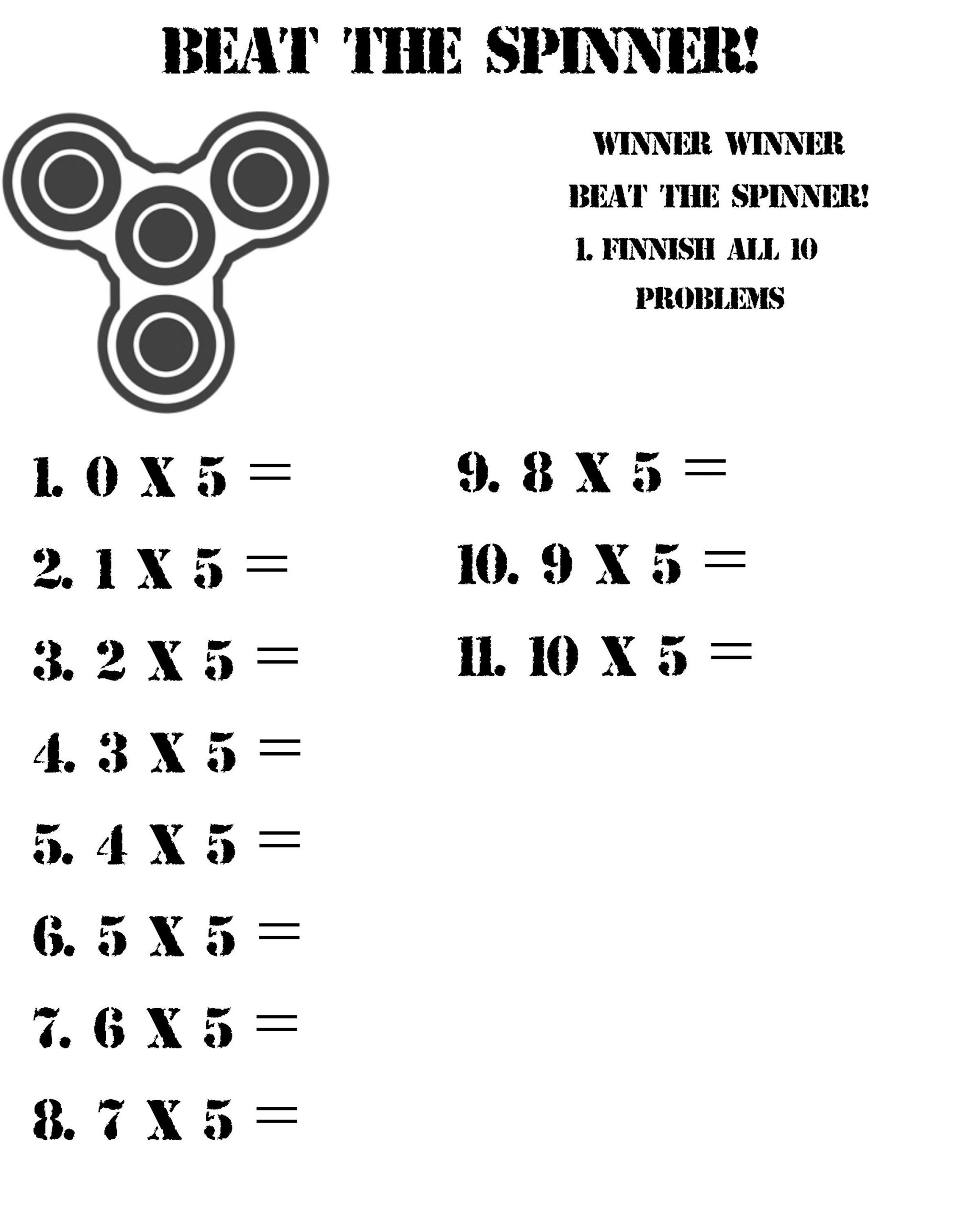 Fidget Spinner Math Worksheets Beat the Spinner and Practice Your Multiplication Facts