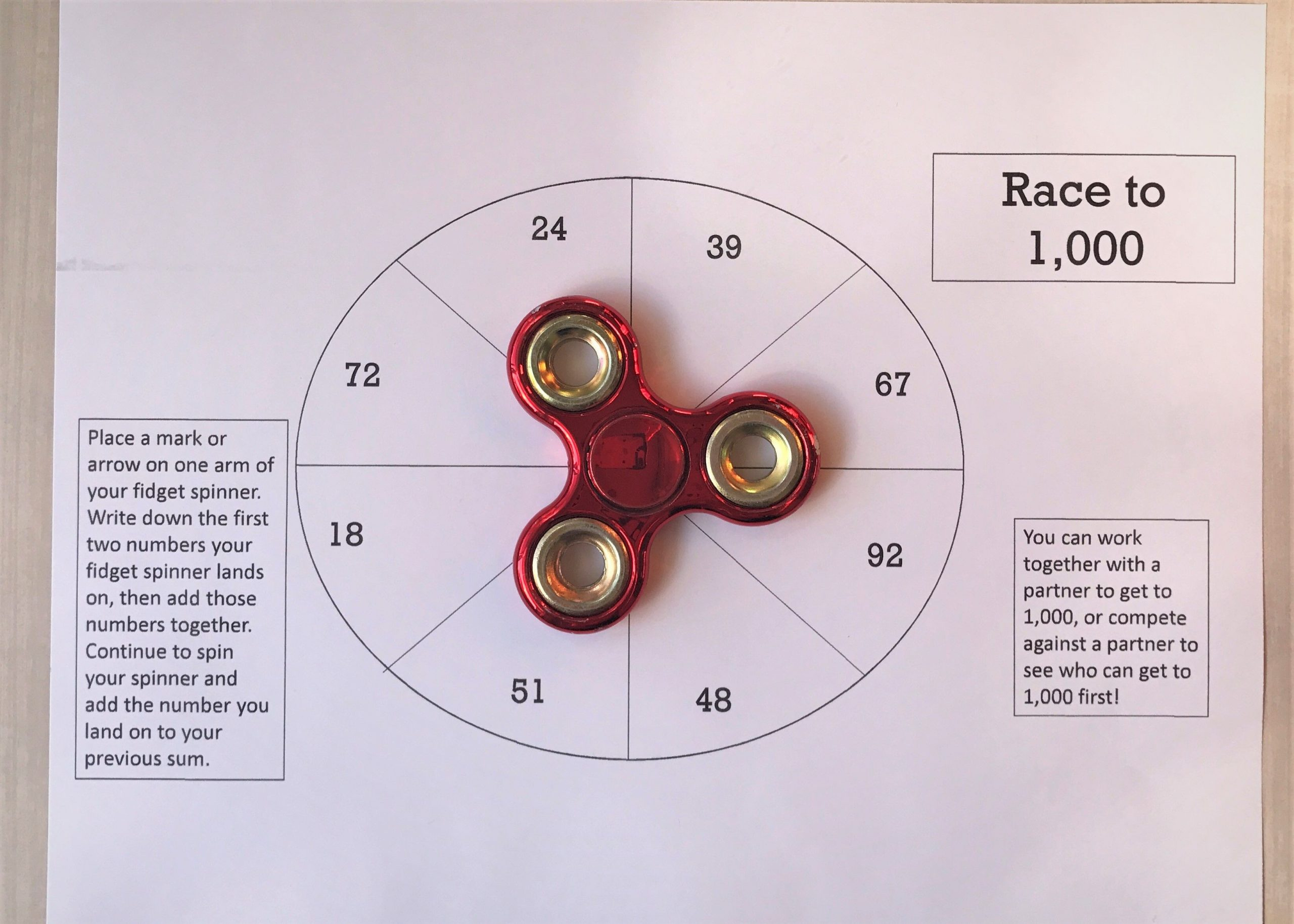 Fidget Spinner Math Worksheets Fid Spinner Math Game Printable Worksheet