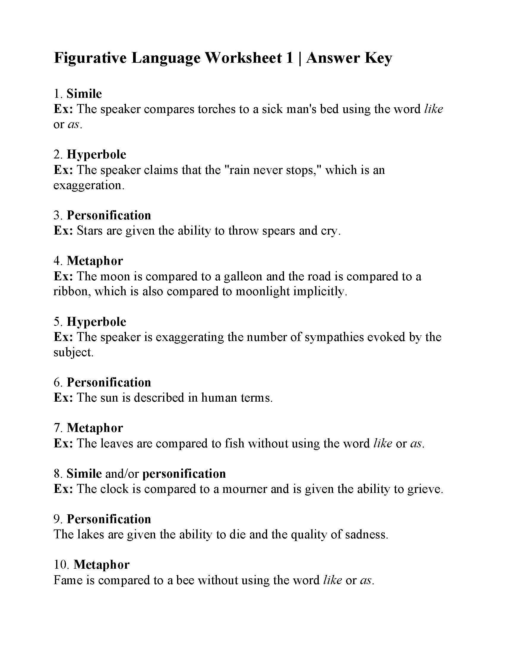 Figurative Language Worksheet High School Figurative Language Worksheet Answers Ereading Worksheets