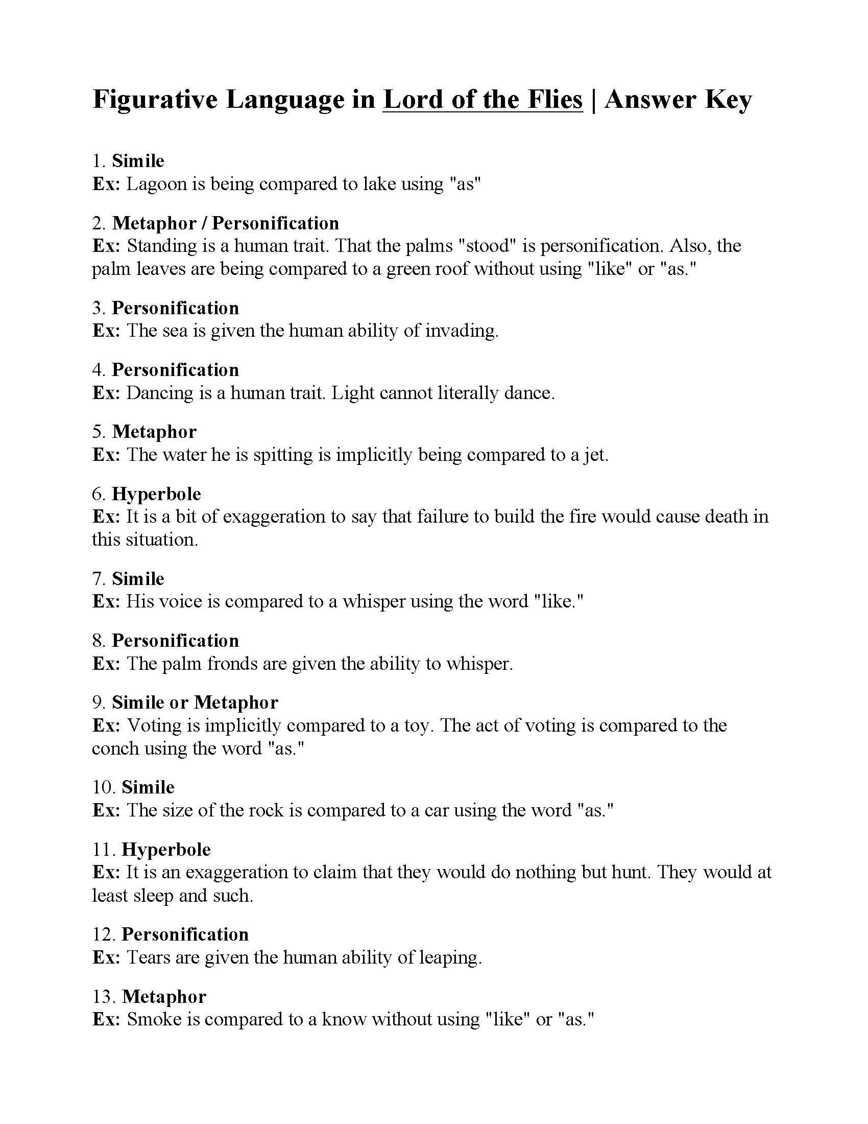 Figurative Language Worksheet High School Figurative Language Worksheet Lord Of the Flies