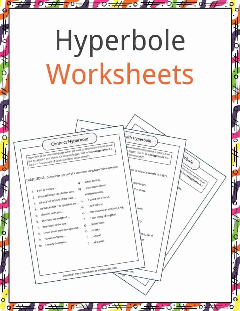 Figurative Language Worksheet High School Hyperbole Examples Definition & Worksheets