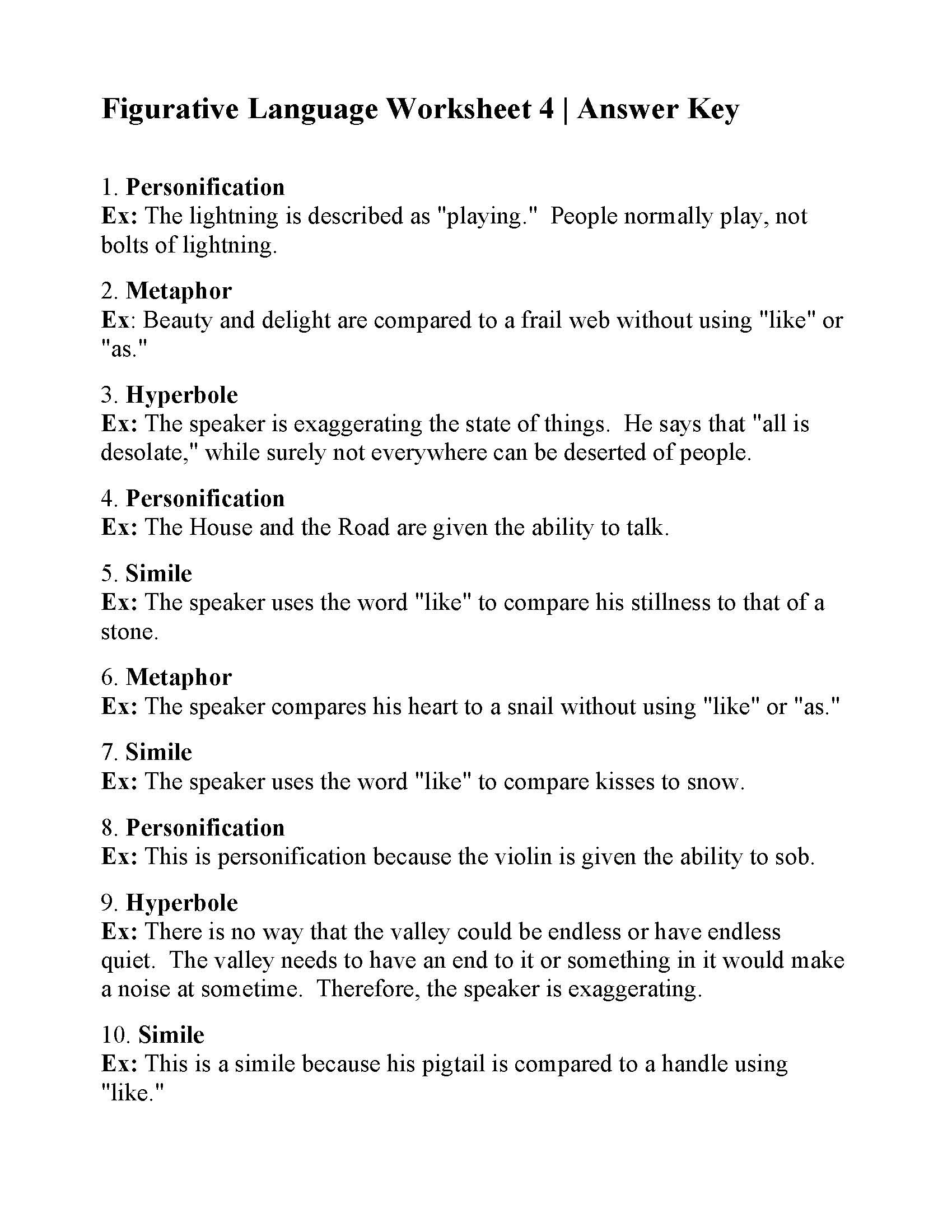 Figurative Language Worksheet High School Simile Worksheets for 6th Grade