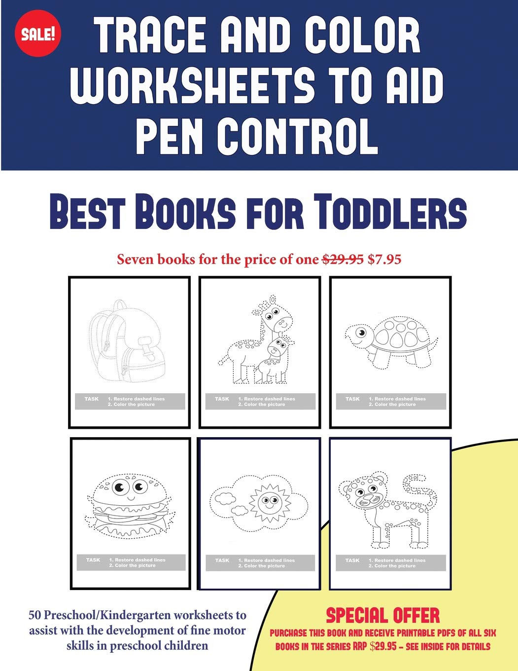 Fine Motor Skills Worksheets Best Books for toddlers Trace and Color Worksheets to Develop Pen Control 50 Preschool Kindergarten Worksheets to assist with the Development Of