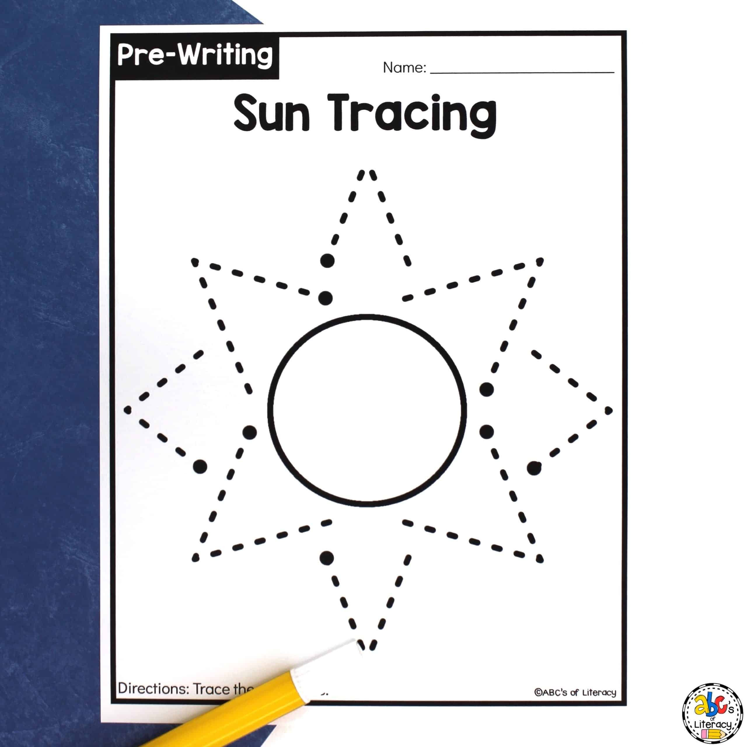 Fine Motor Skills Worksheets Sun Tracing Worksheets Pre Writing Activity for Preschoolers