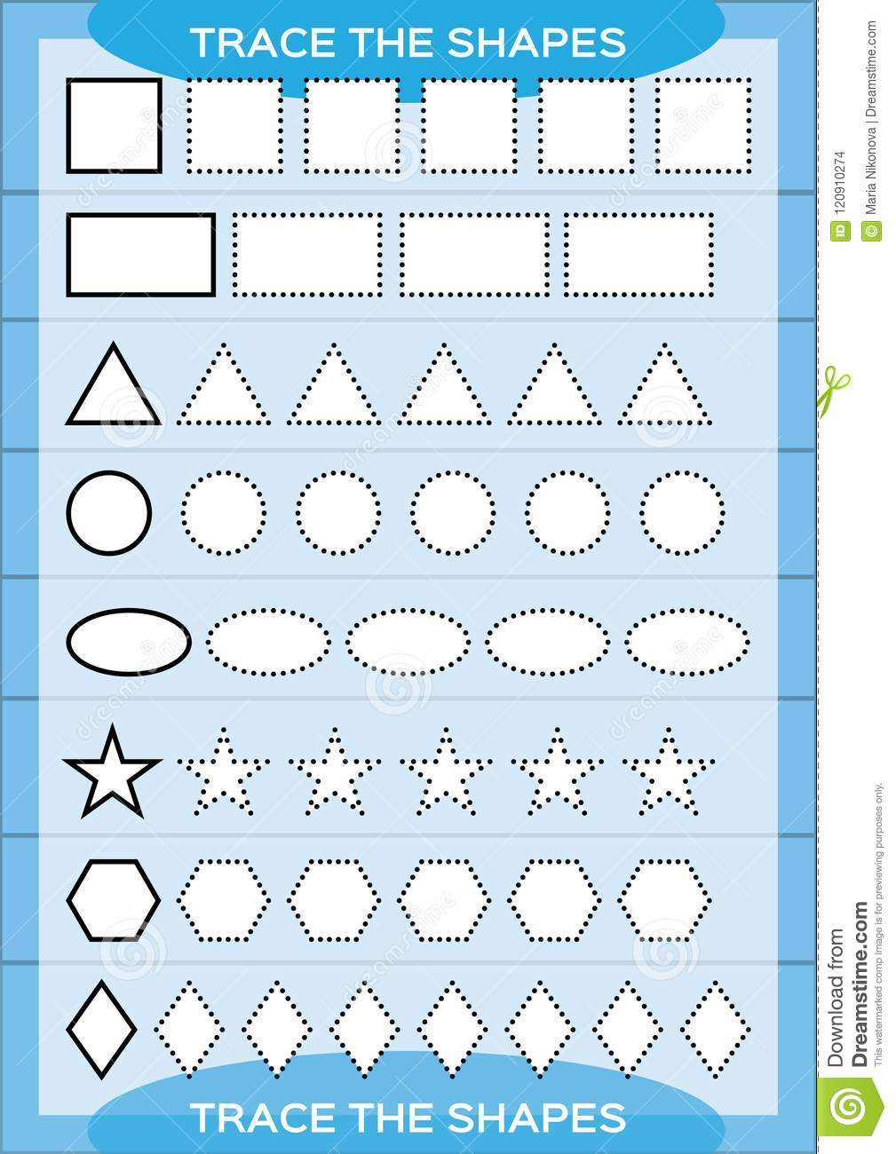 Fine Motor Skills Worksheets Trace the Shapes Kids Education Preschool Worksheet Basic