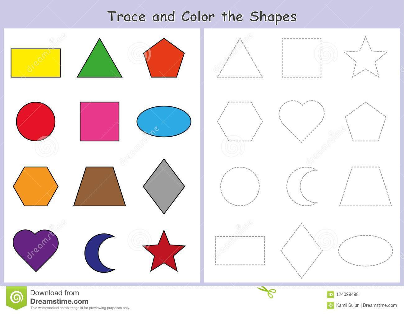 Fine Motor Skills Worksheets Tracing and Color the Geometric Shapes Worksheet for Kids