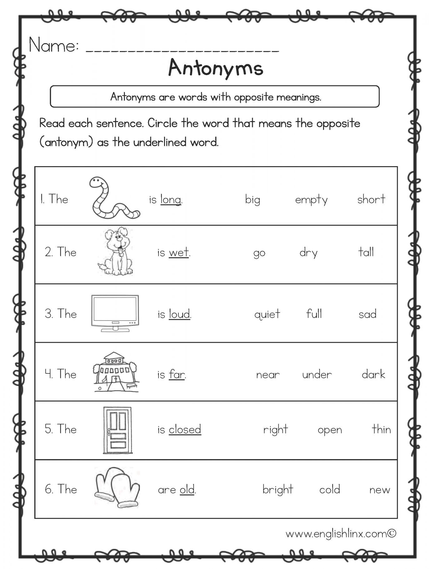 First Grade Antonyms Worksheet Pin On 1st Grade Worksheet