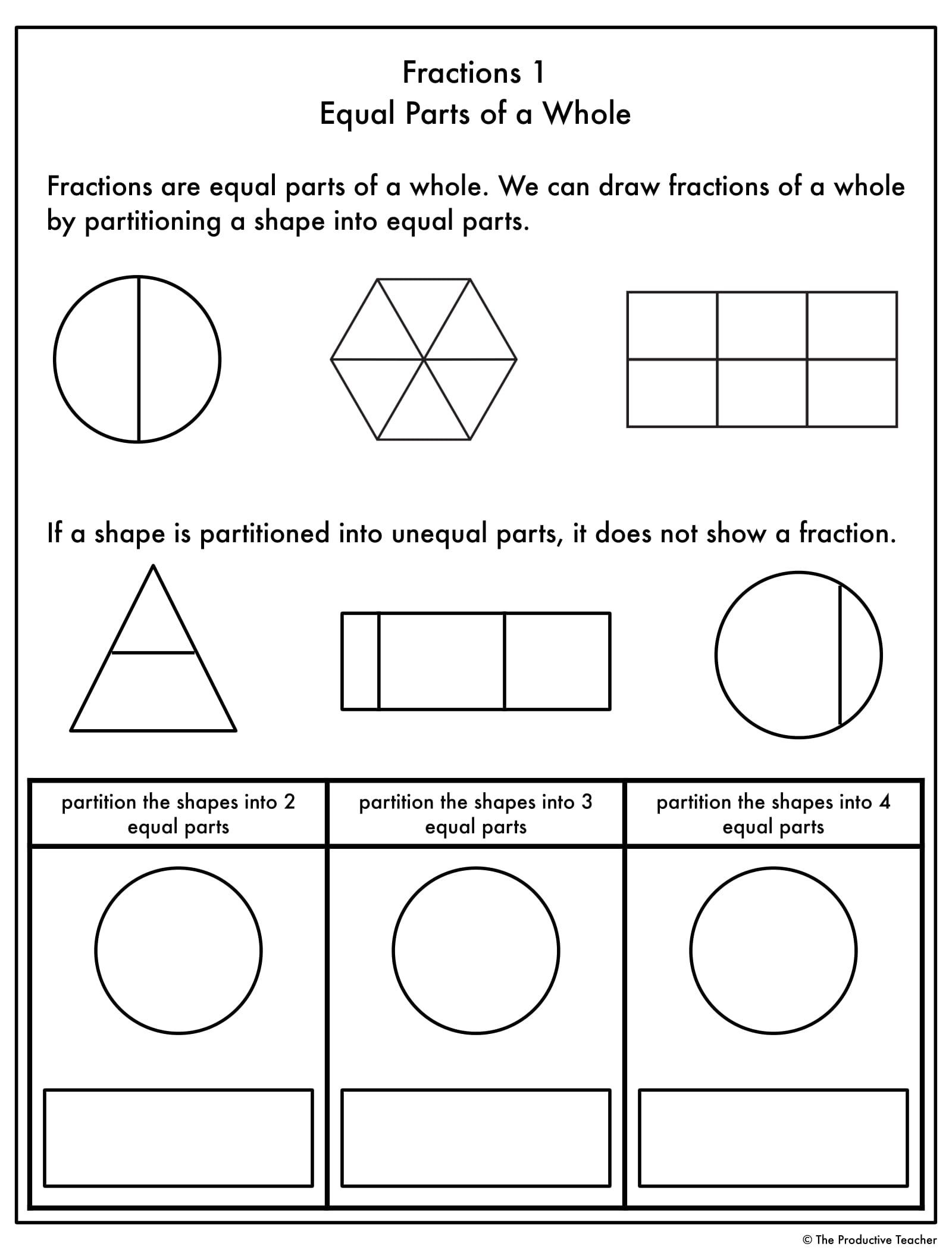 First Grade Fractions Worksheets Fractions Progression Worksheets In 2020