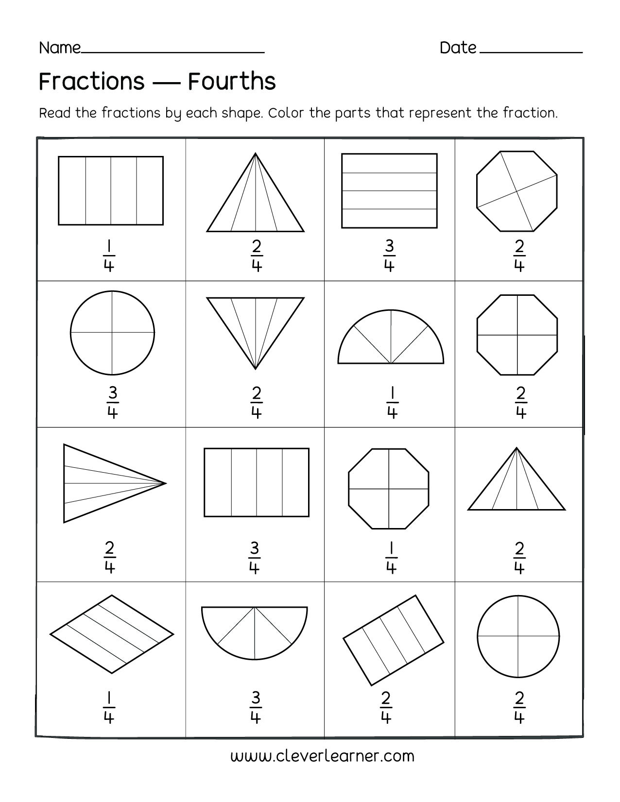 First Grade Fractions Worksheets Fun Activity On Fractions Fourths Worksheets for Children