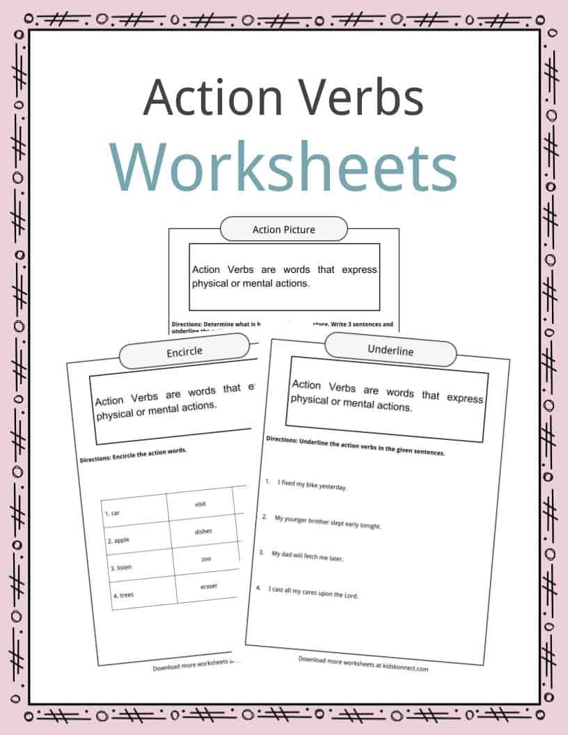 First Grade Sentence Writing Worksheets Action Verbs Worksheets Examples Sentences & Definition