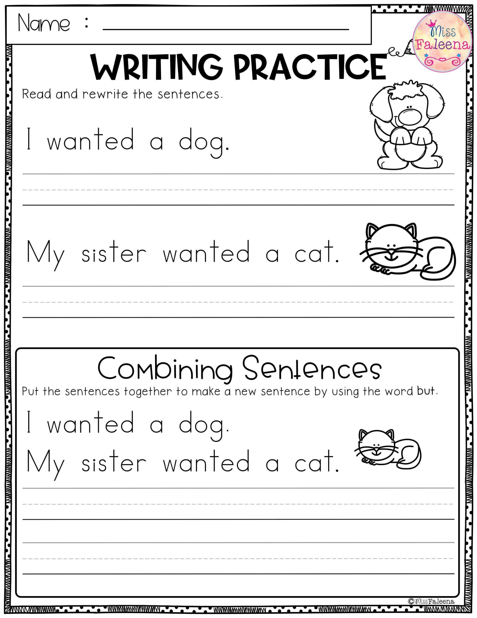 First Grade Sentence Writing Worksheets Free Writing Practice Bining Sentences